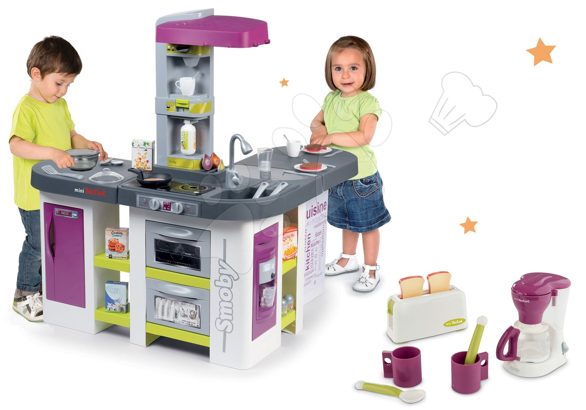 Set kuchynka elektronická Tefal Studio XXL Bubble Smoby s magickým bublaním a raňajkový set s kávovarom a toasterom