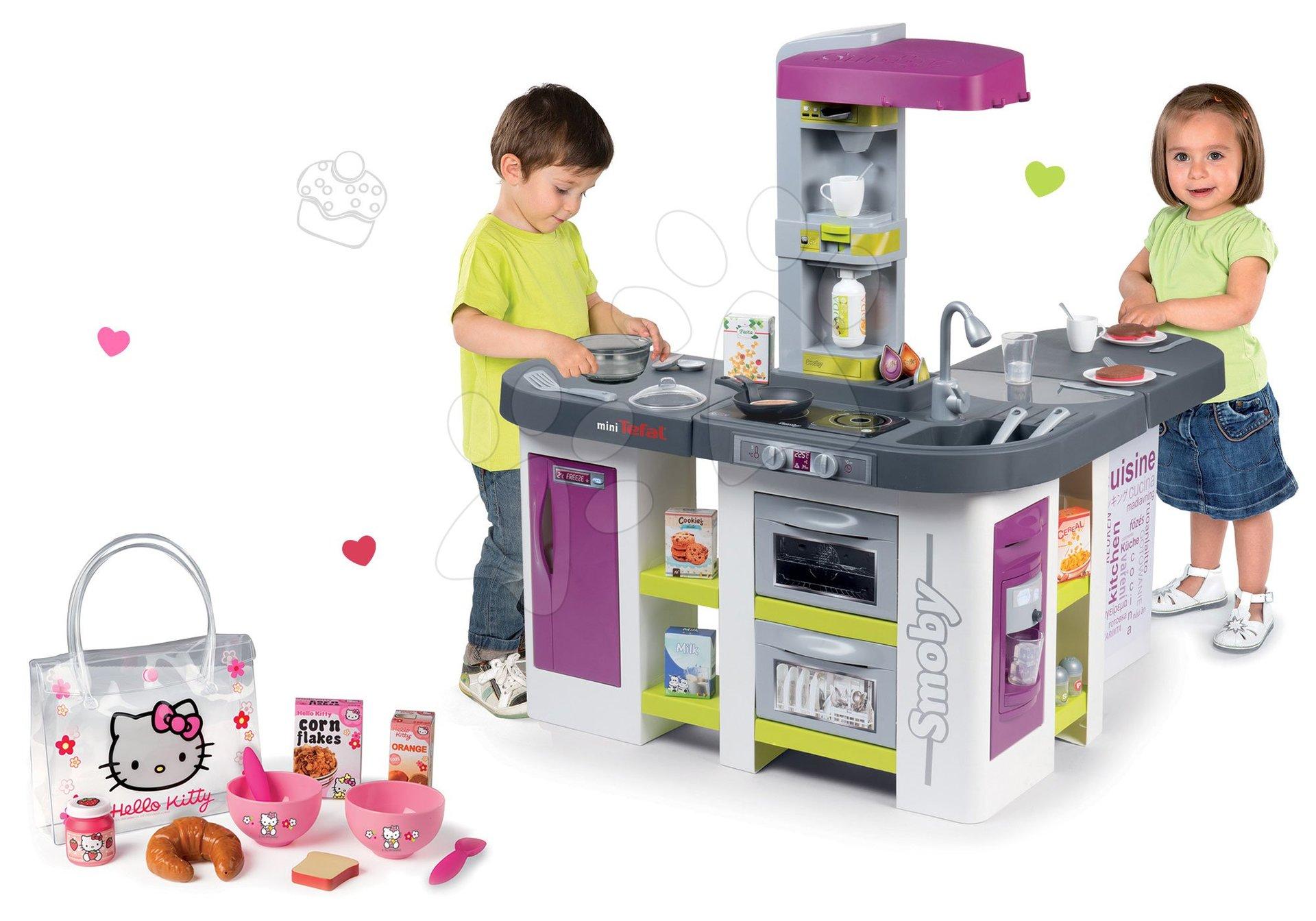 Set kuchyňka elektronická Tefal Studio XXL Bubble Smoby as bubláním a Hello Kitty snídaňový set v taštičce jako dárek