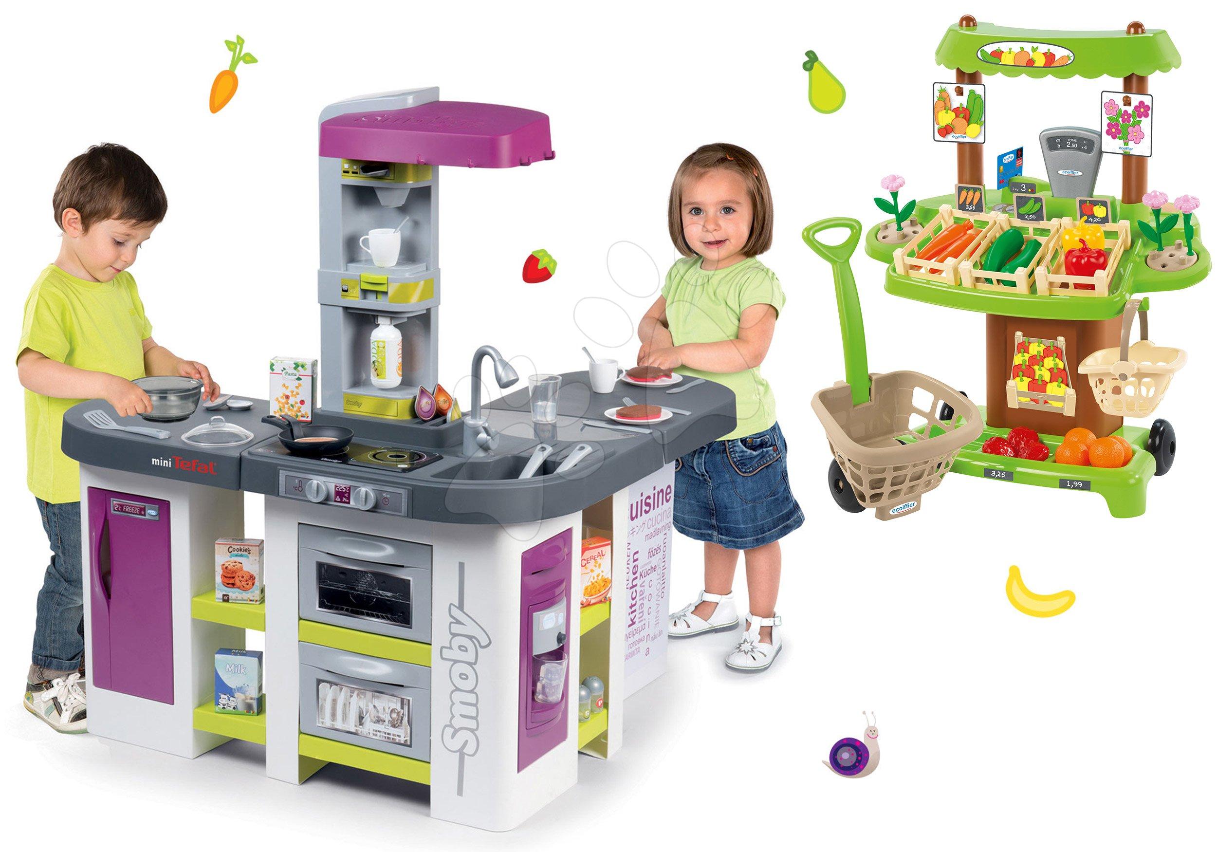 Smoby set kuchynka elektronická Tefal Studio XXL Bubble a zeleninový stánok s nákupným vozíkom 311033-8