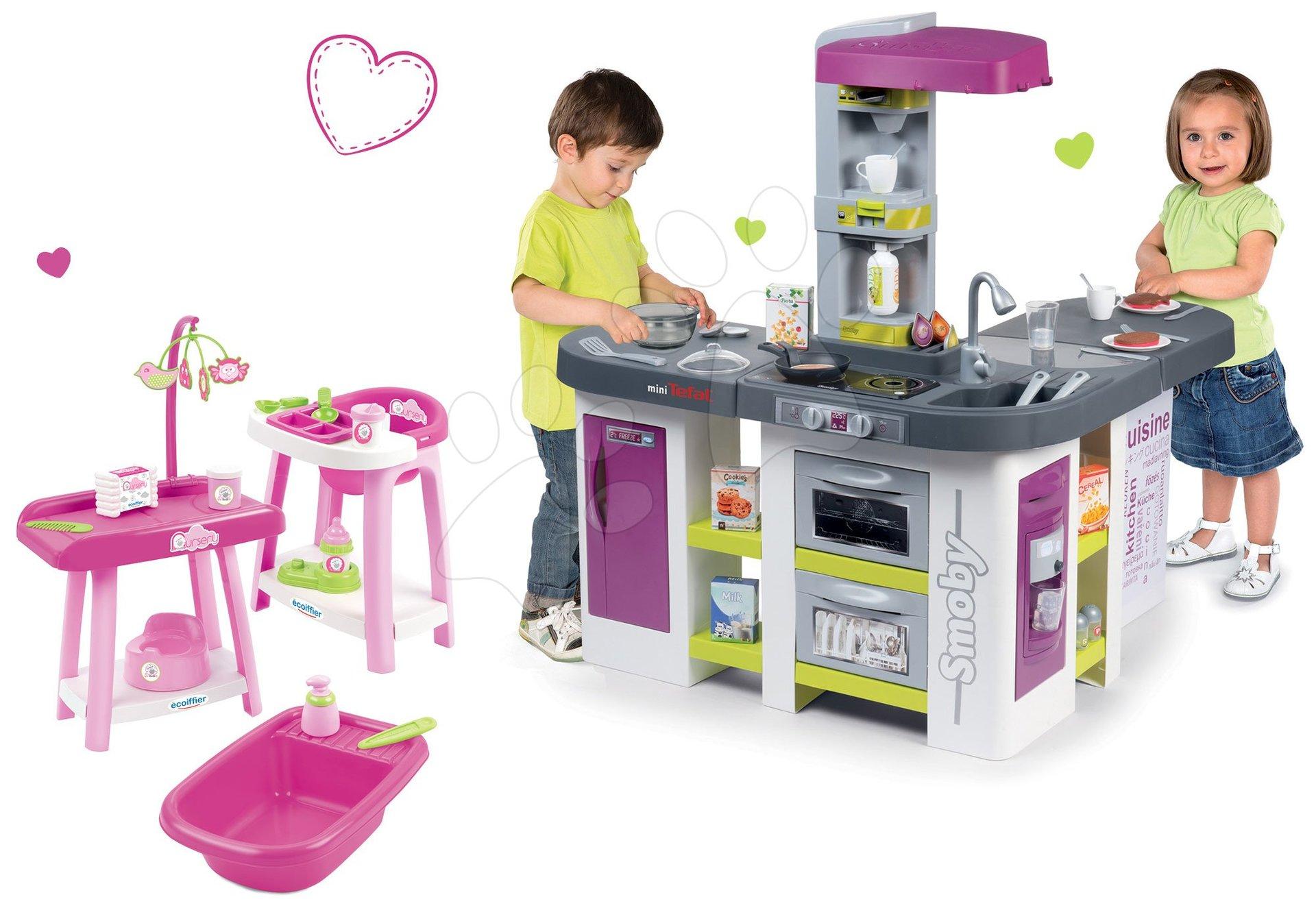 Smoby set kuchyňka elektronická Tefal Studio XXL Bubble a přebalovací pult se židlí a vaničkou 311033-9