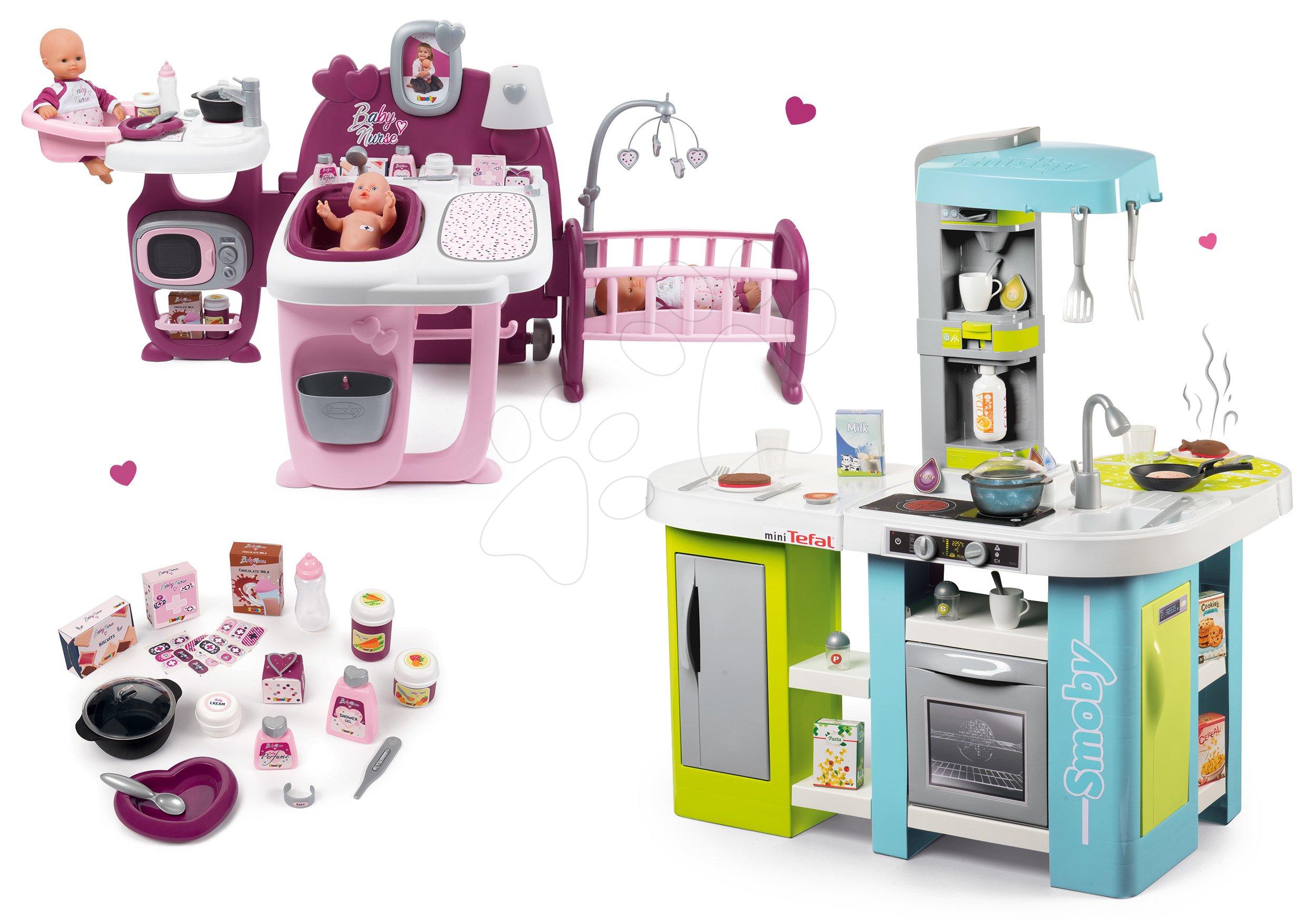 Smoby set kuchyňka elektronická Tefal Studio XL Bubble a domeček pro panenku Baby Nurse Doll´s Play Center 311035-1