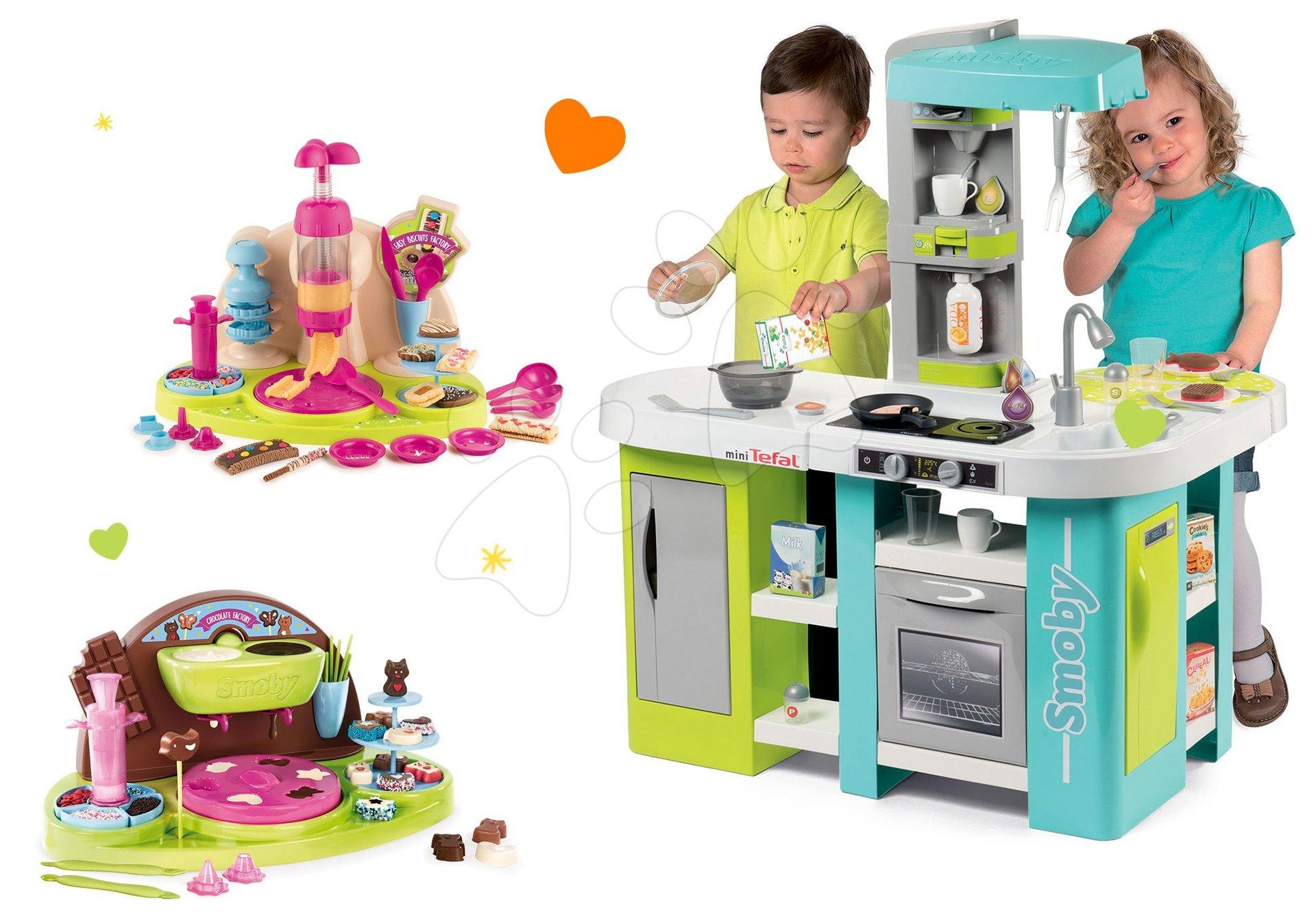 Smoby set kuchynka elektronická Tefal Studio XL Bubble a hravá kuchárka Chef čokoládovňa a cukrárka 311035-2