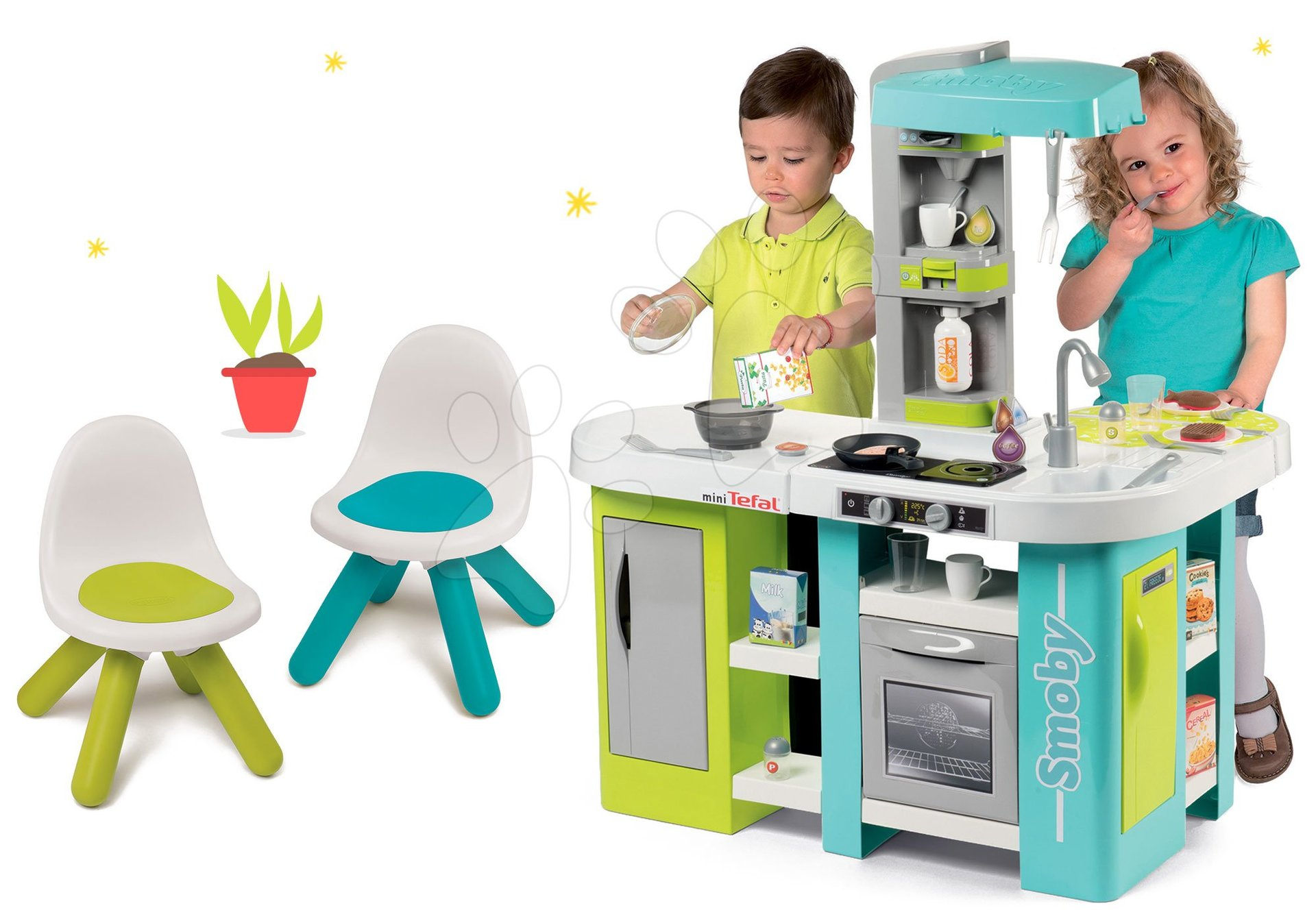 Smoby set kuchynka elektronická Tefal Studio XL Bubble a dve stoličky 311035-20