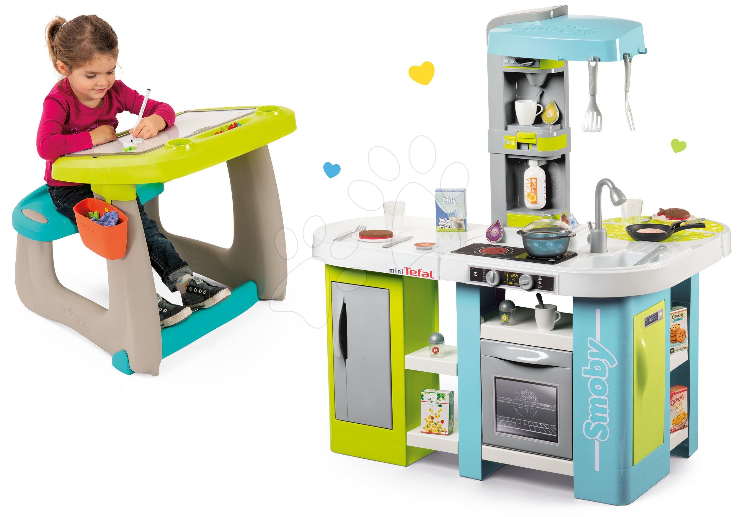 Smoby set kuchynka elektronická Tefal Studio XL Bubble a lavica s odkladacím priestorom a tabuľou 311035-21