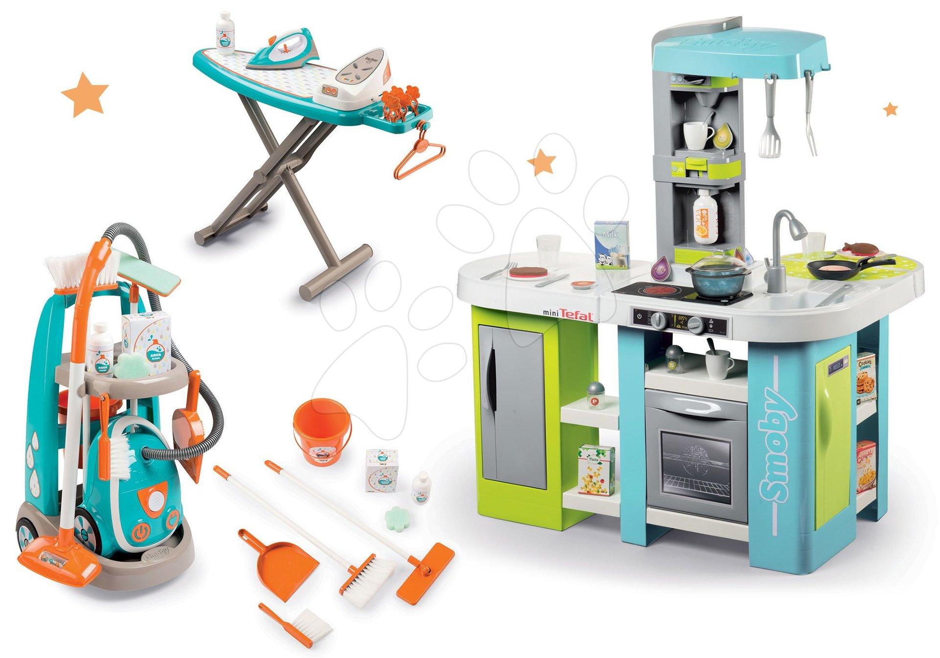 Smoby set kuchynka elektronická Tefal Studio XL Bubble a upratovací vozík s vysávačom a žehliacou doskou 311035-3