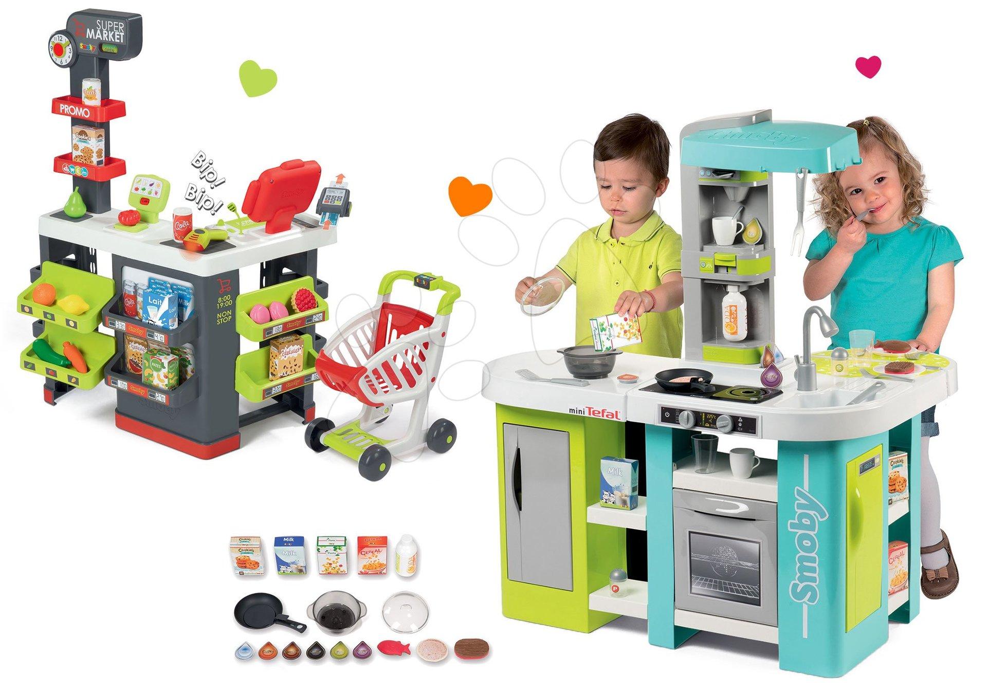 Smoby set kuchyňka elektronická Tefal Studio XL Bubble a obchod s vozíkem Supermarket s pokladnou 311035-7