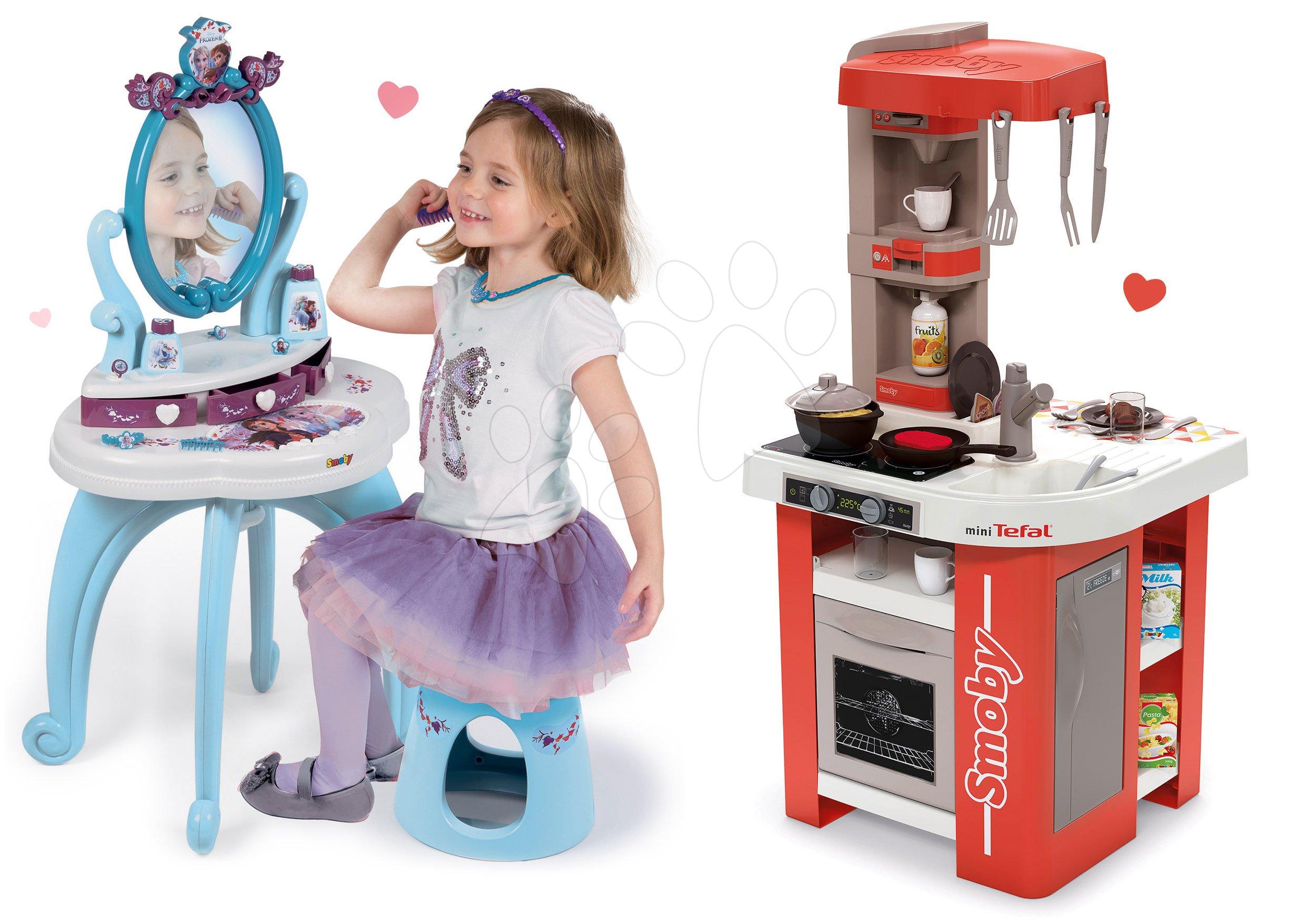 Set kuchynka elektronická Tefal Studio 360° Smoby a kozmetický stolík Princezné 2v1 so stoličkou