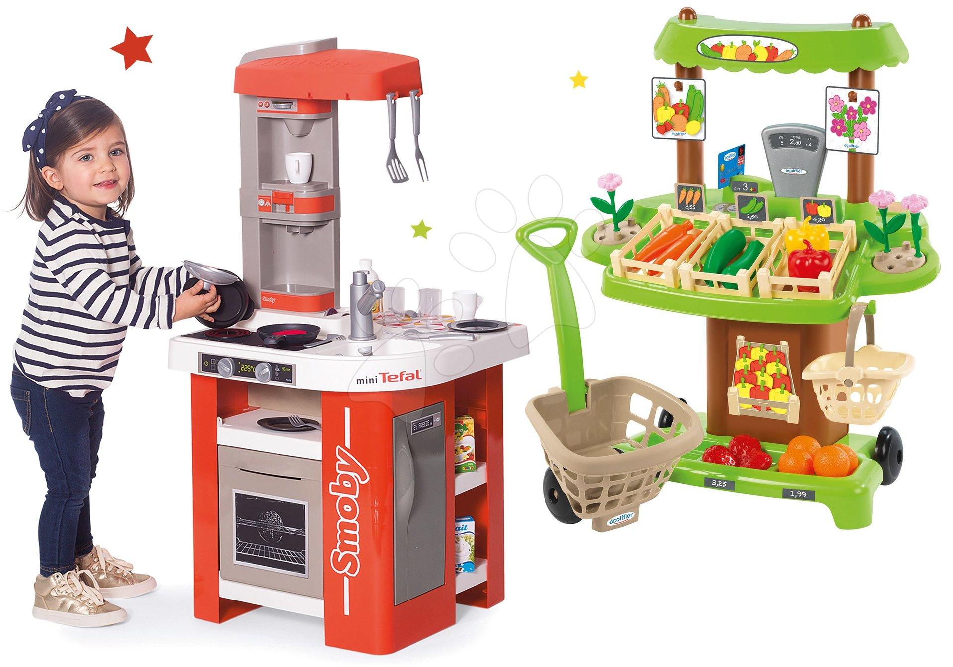 Set kuchyňka elektronická Tefal Studio 360° Smoby a zeleninový Bio stánek s vozíkem Organic 100% Chef