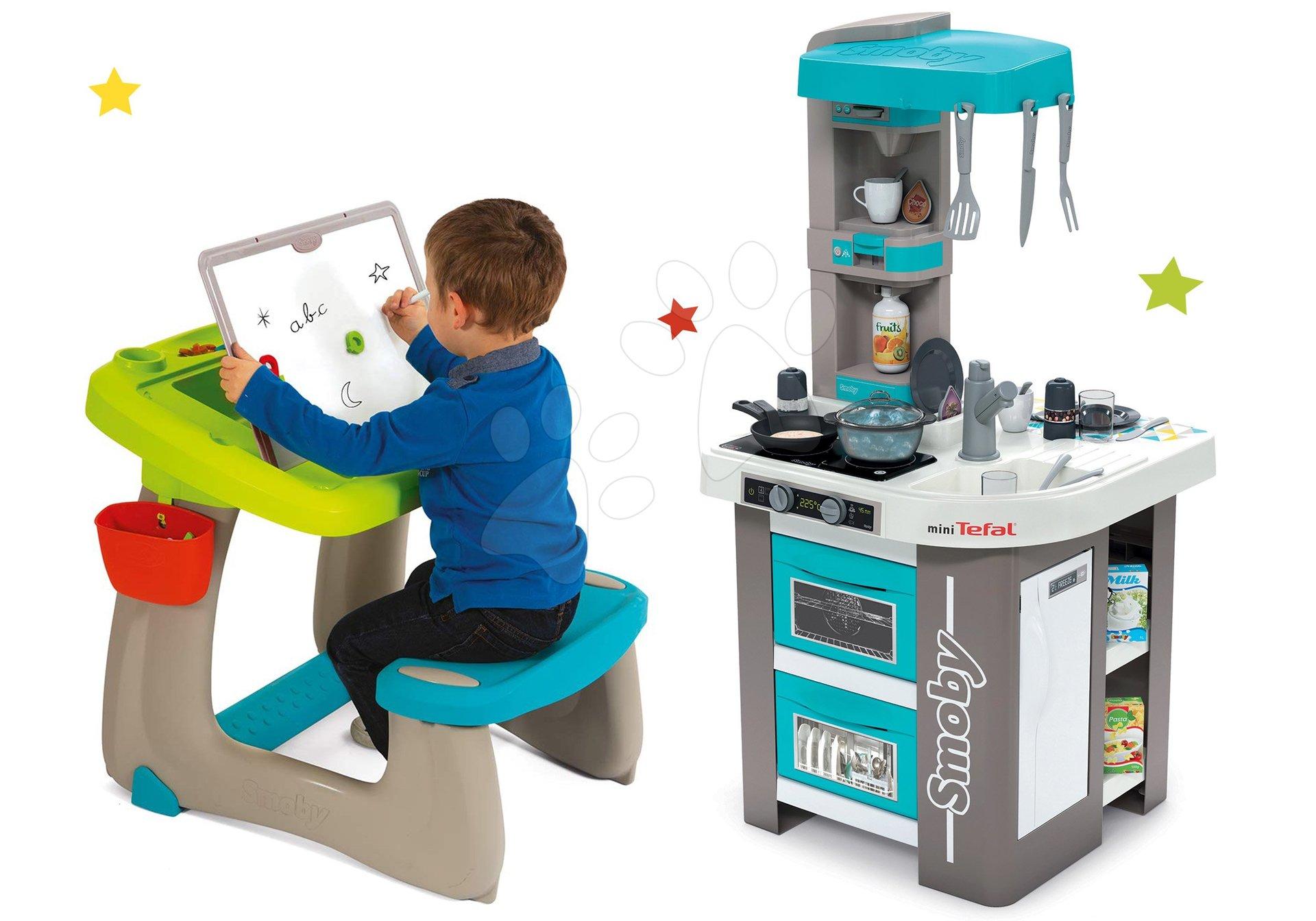 Set kuchynka elektronická Tefal Studio 360° Bubble Smoby a lavica na kreslenie a magnetky Little Pupils Desk