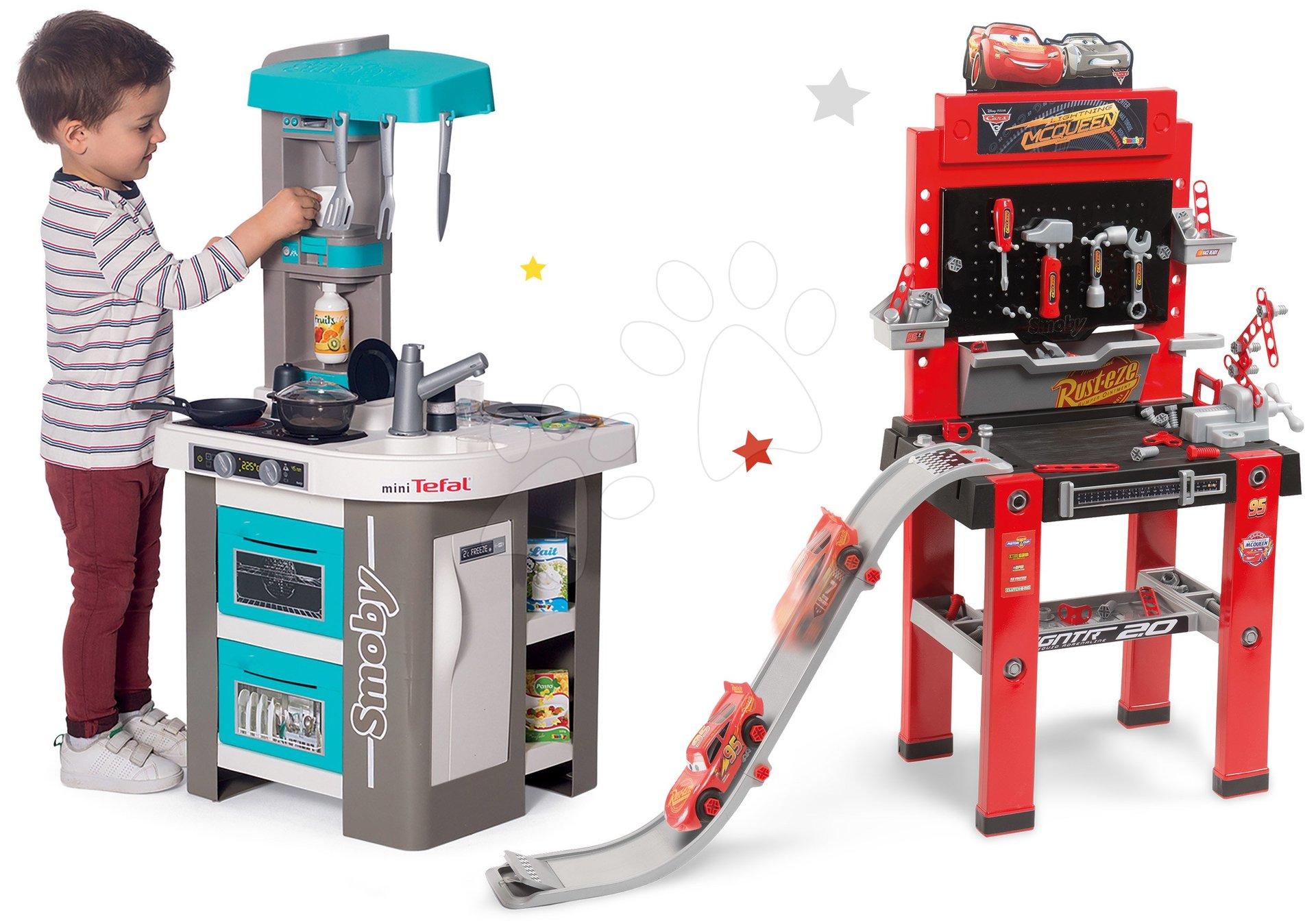 Set kuchynka elektronická Tefal Studio 360° Bubble Smoby a pracovná dielňa Autá 3 so skákajucou rampou