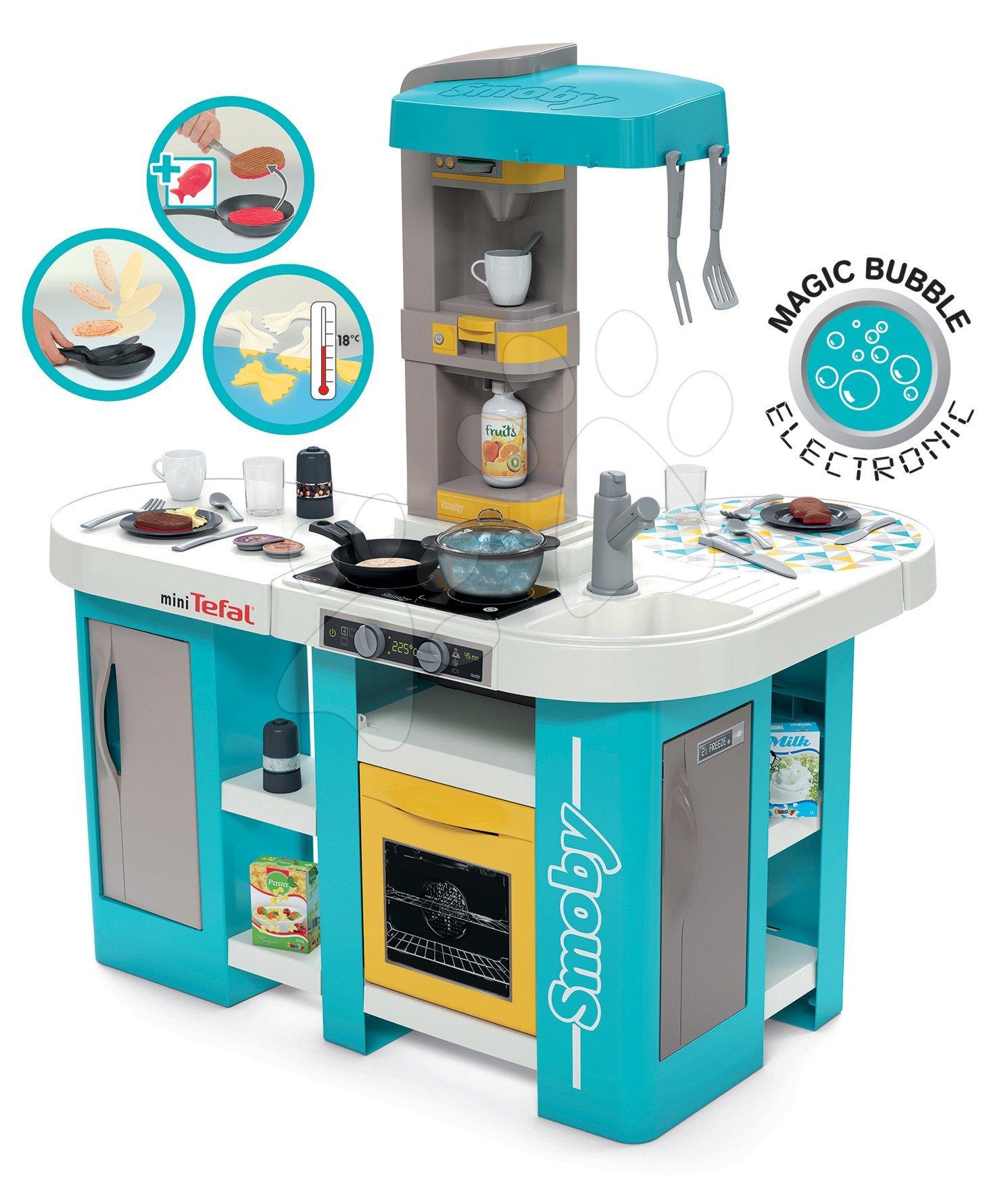 Kuchyňka elektronická Tefal Studio 360° XL Bubble Smoby tyrkysovo-žlutá s magickým bubláním a těstovinami s 34 doplňky