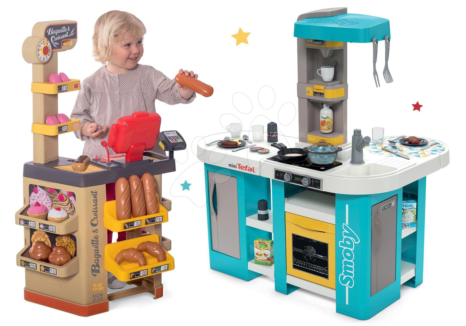 Set kuchynka elektronická Tefal Studio 360° XL Bubble Smoby a pekáreň s koláčmi Baguette&Croissant Bakery