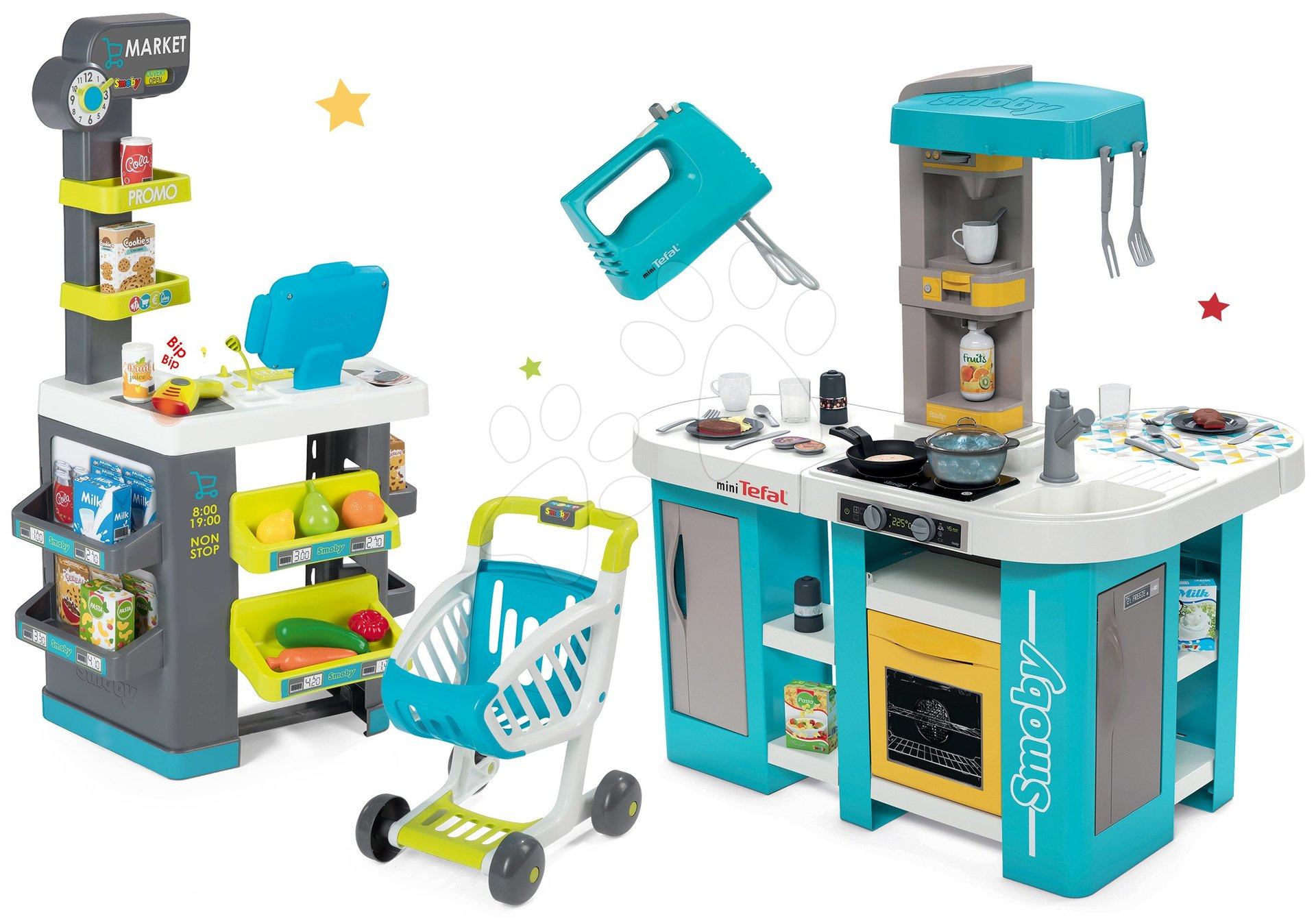 Set kuchyňka elektronická Tefal Studio 360° XL Bubble Smoby a obchod s potravinami Market a mixérem