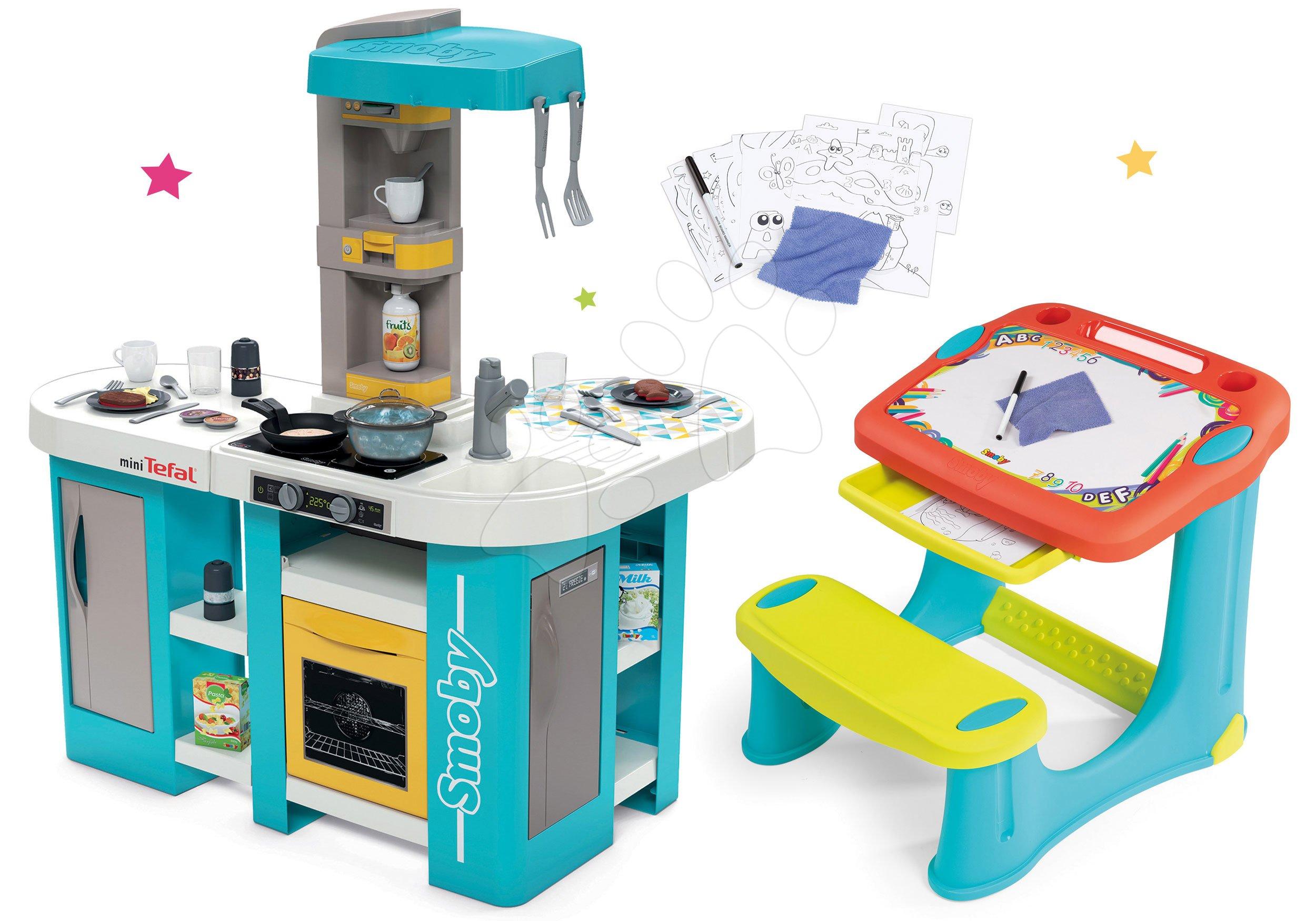 Set kuchynka elektronická Tefal Studio 360° XL Bubble Smoby a lavica na kreslenie Magic Desk Kresli a zmaž