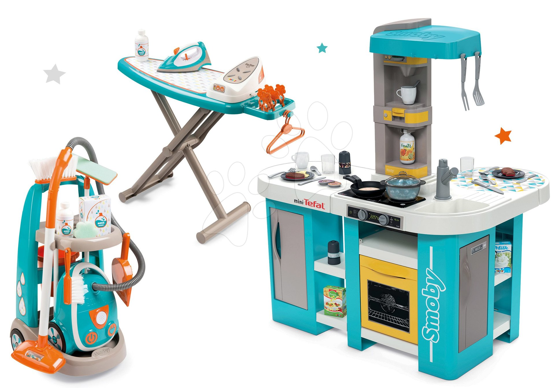 Set kuchynka elektronická Tefal Studio 360° XL Bubble Smoby a upratovací vozík s vysávačom a žehliacou doskou