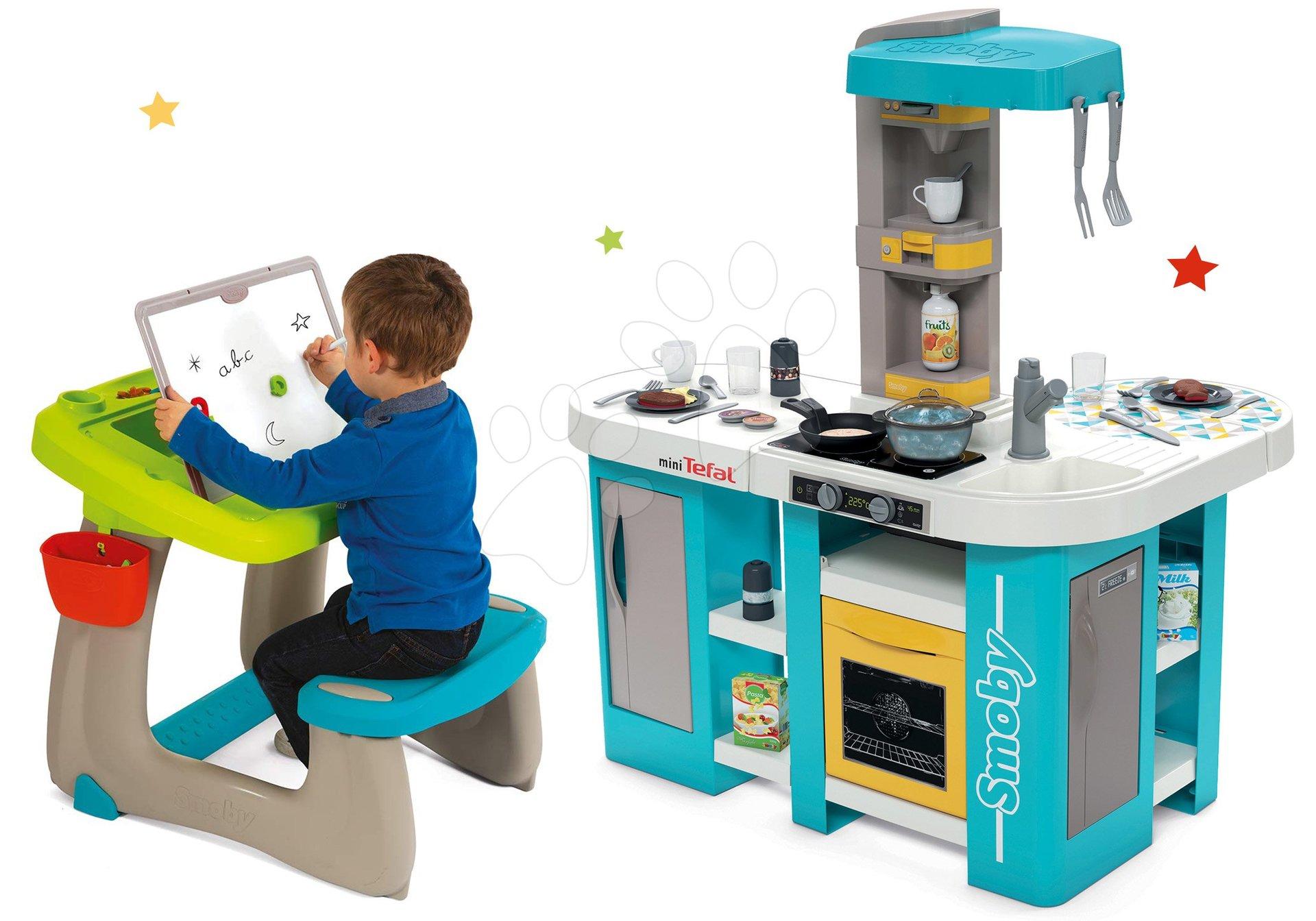 Set kuchynka elektronická Tefal Studio 360° XL Bubble Smoby a lavica na kreslenie a magnetky Little Pupils