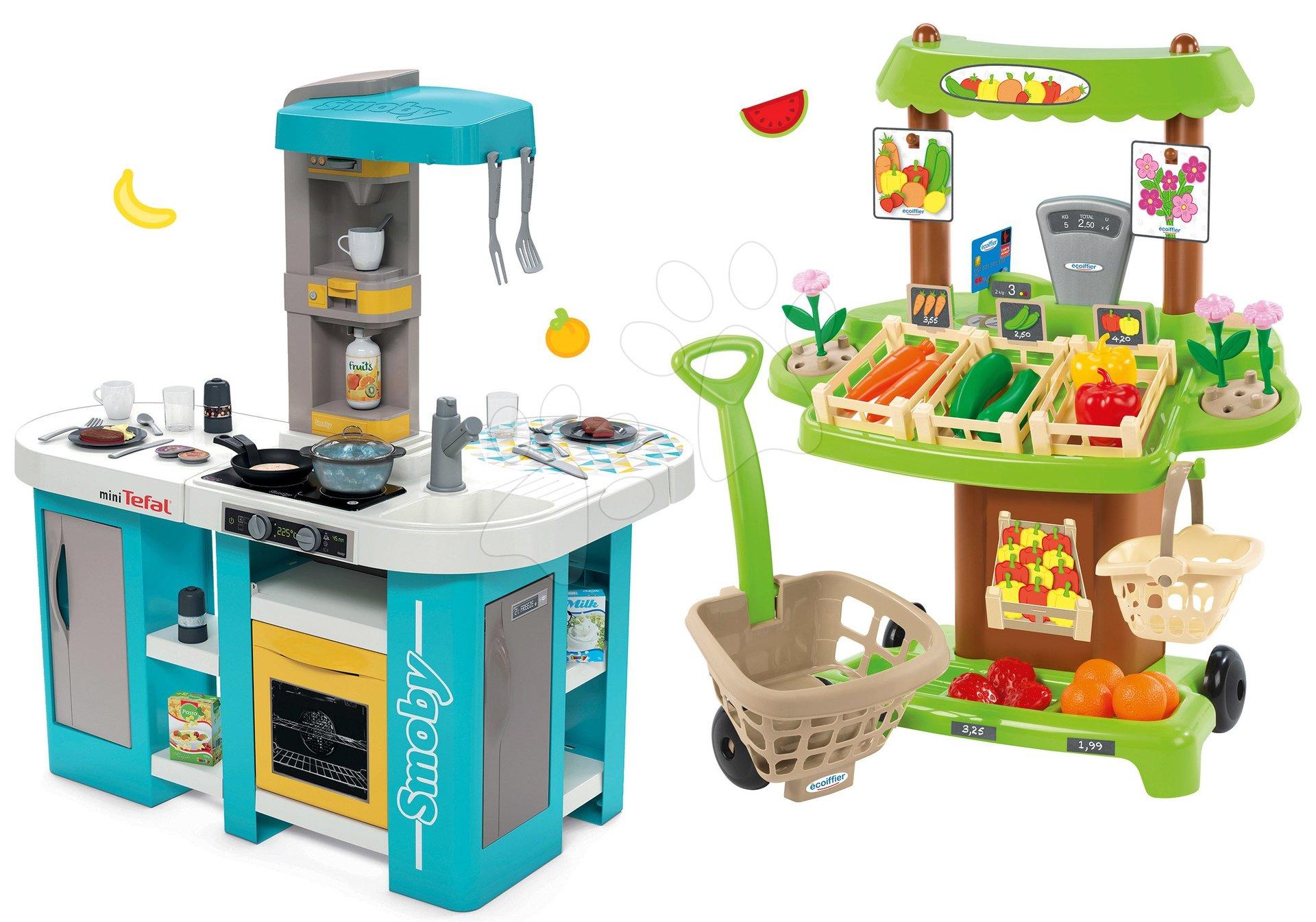 Set kuchyňka elektronická Tefal Studio 360° XL Bubble Smoby a zeleninový Bio stánek s vozíkem Organic 100% Chef