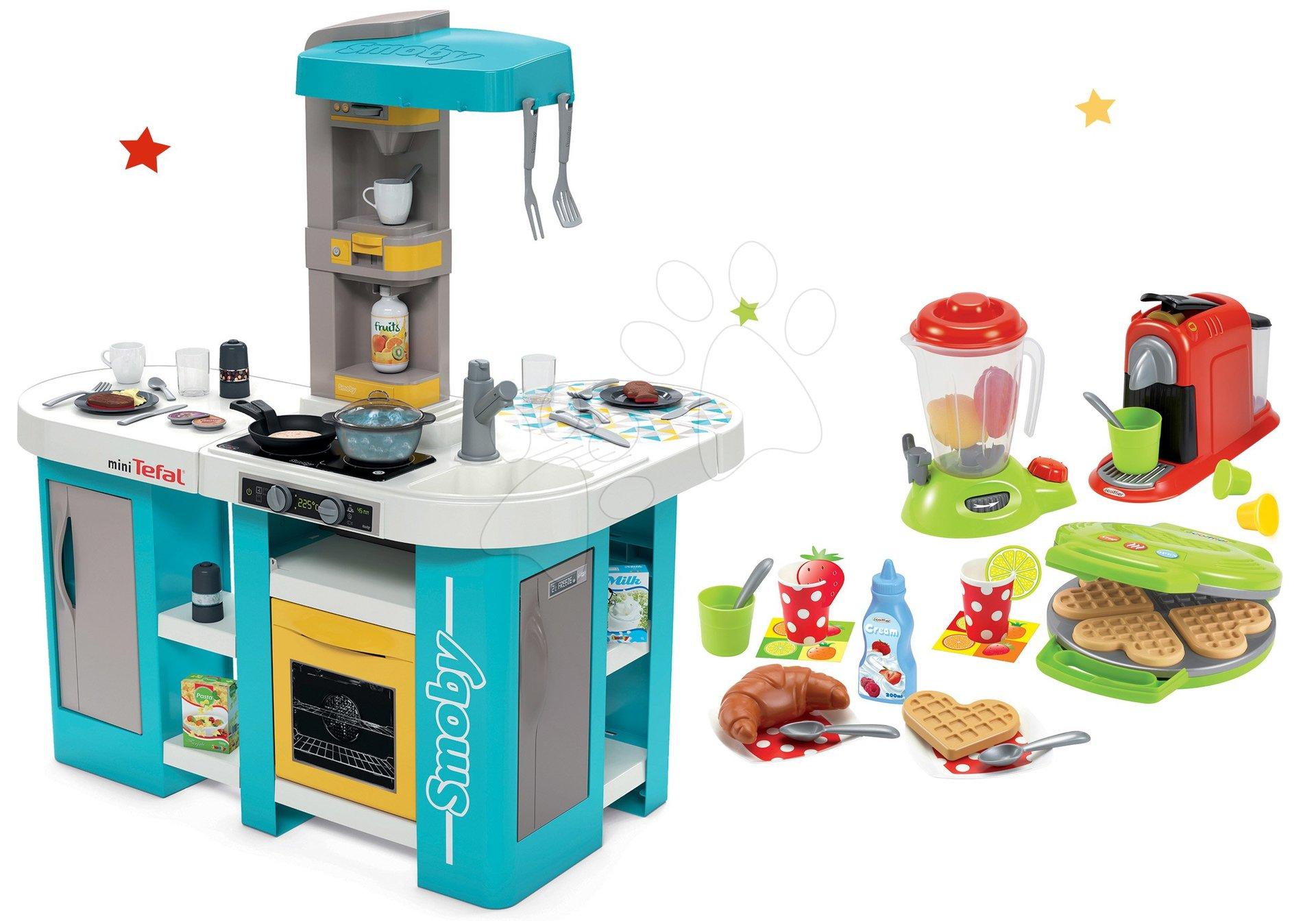 Set kuchynka elektronická Tefal Studio 360° XL Bubble Smoby a vaflovač 100 % Chef s mixérom a kávovarom