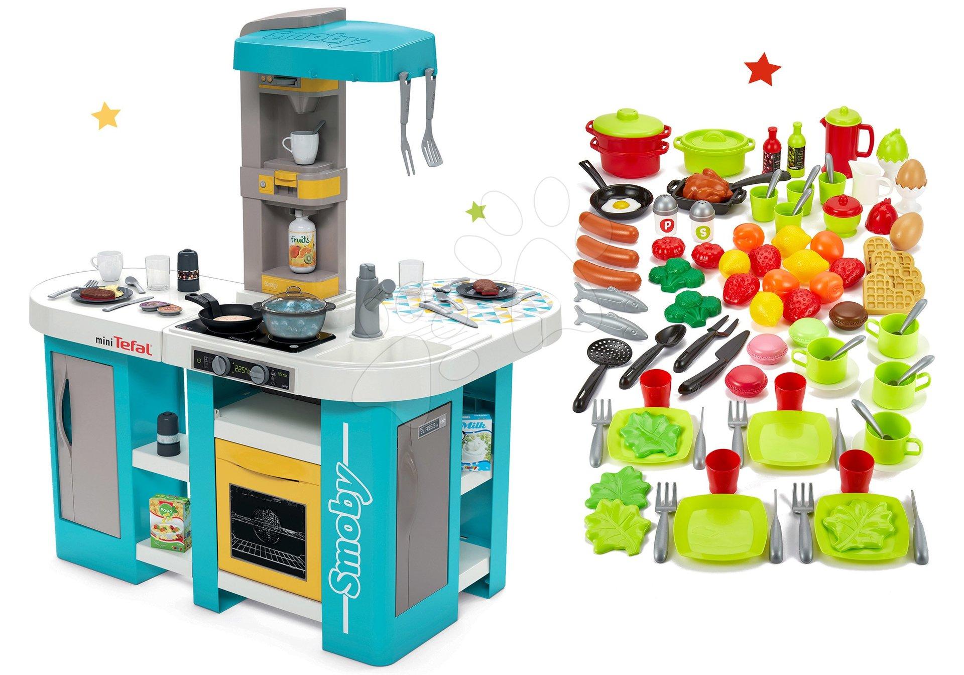 Set kuchynka elektronická Tefal Studio 360° XL Bubble Smoby a 100-dielna súprava ovocia zeleniny a potraviny s riadom