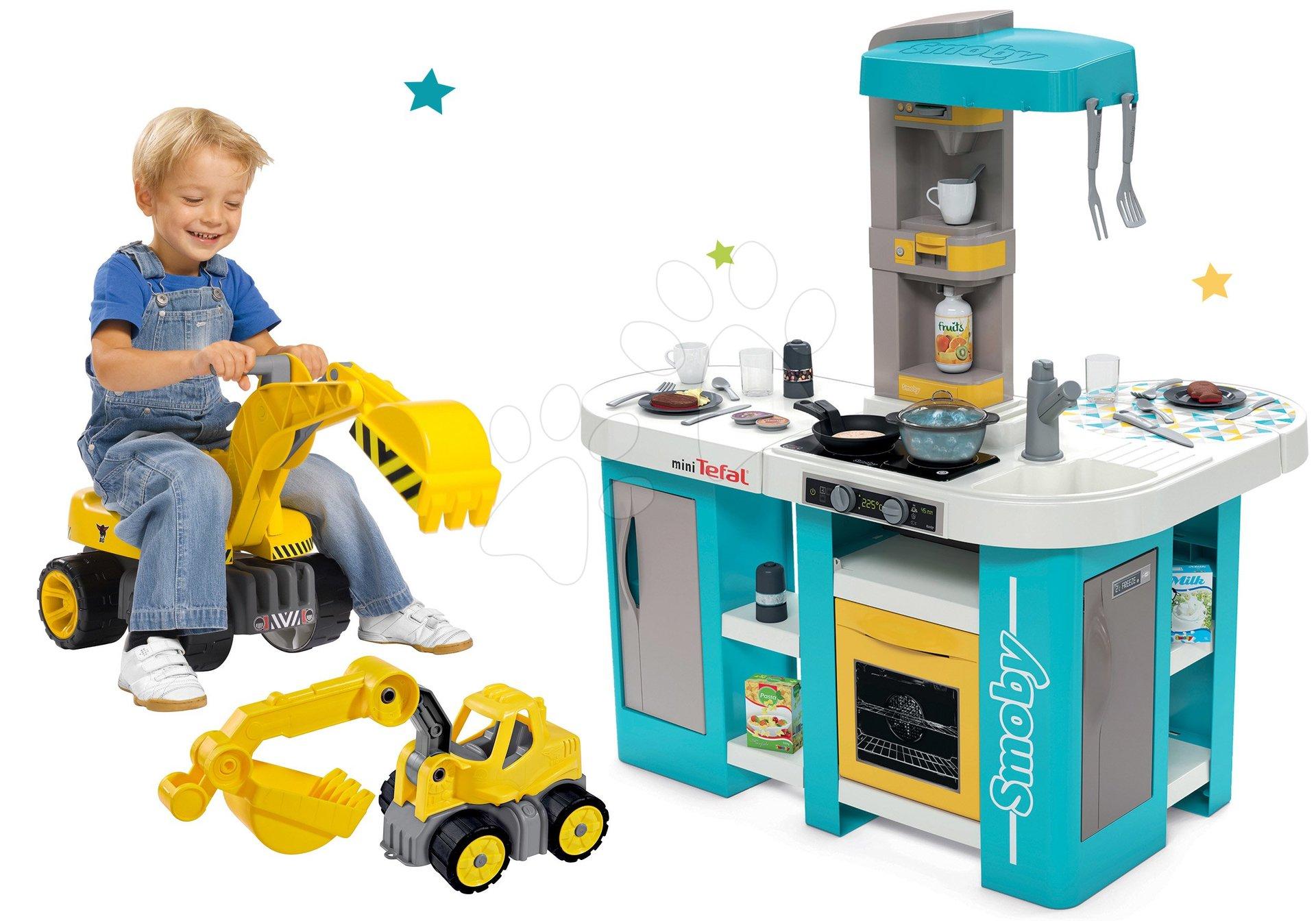 Set kuchyňka elektronická Tefal Studio 360° XL Bubble Smoby a bagr Maxi Power se sedadlem a autíčko