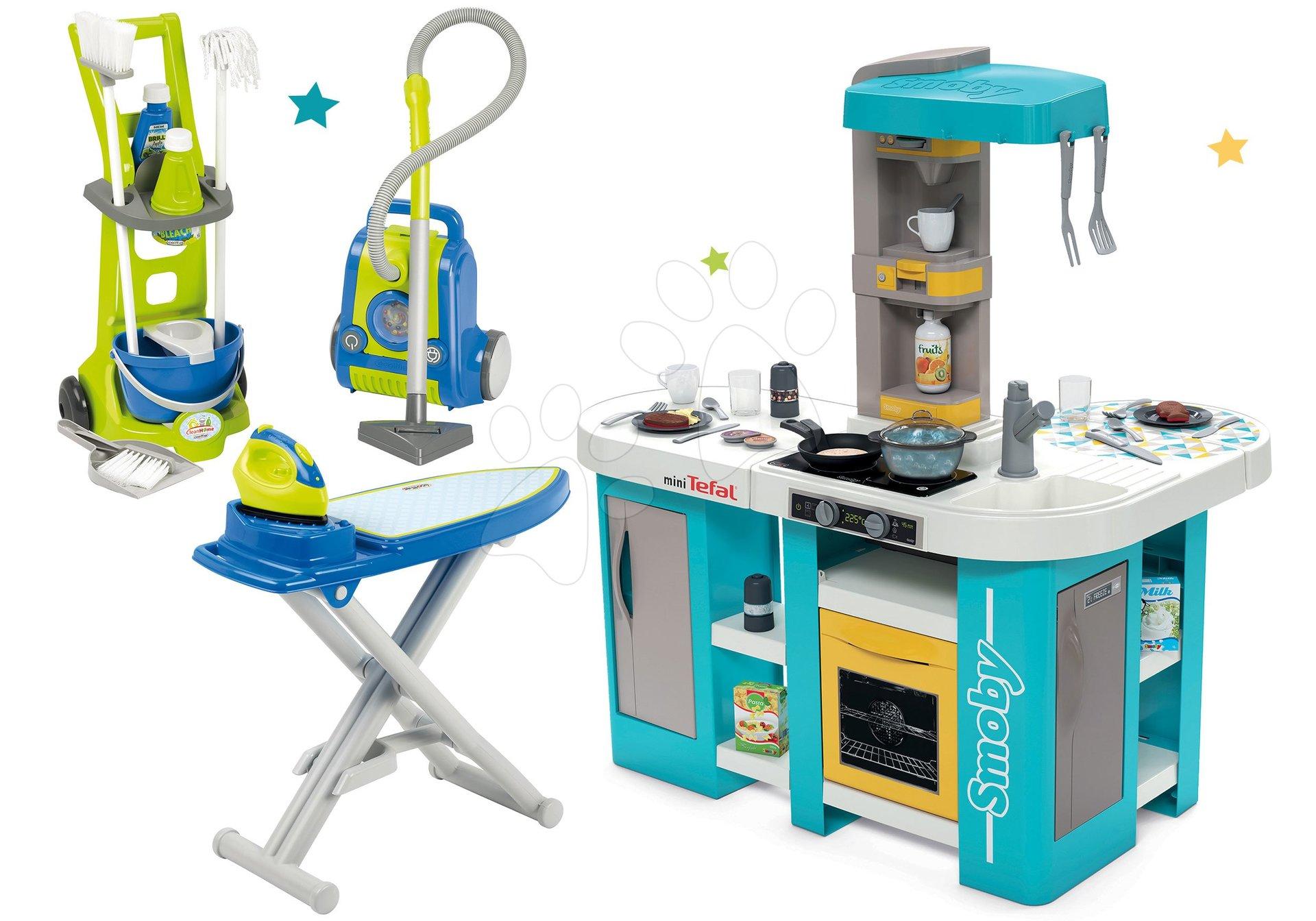 Set kuchynka elektronická Tefal Studio 360° XL Bubble Smoby a upratovací vozík s vysávačom a žehliaca doska