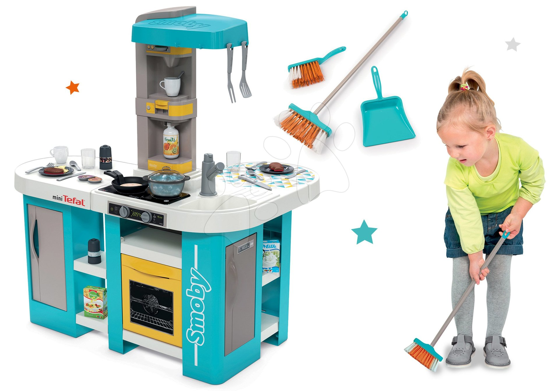 Set kuchynka elektronická Tefal Studio 360° XL Bubble Smoby a metla a lopatka Aqua Clean zadarmo