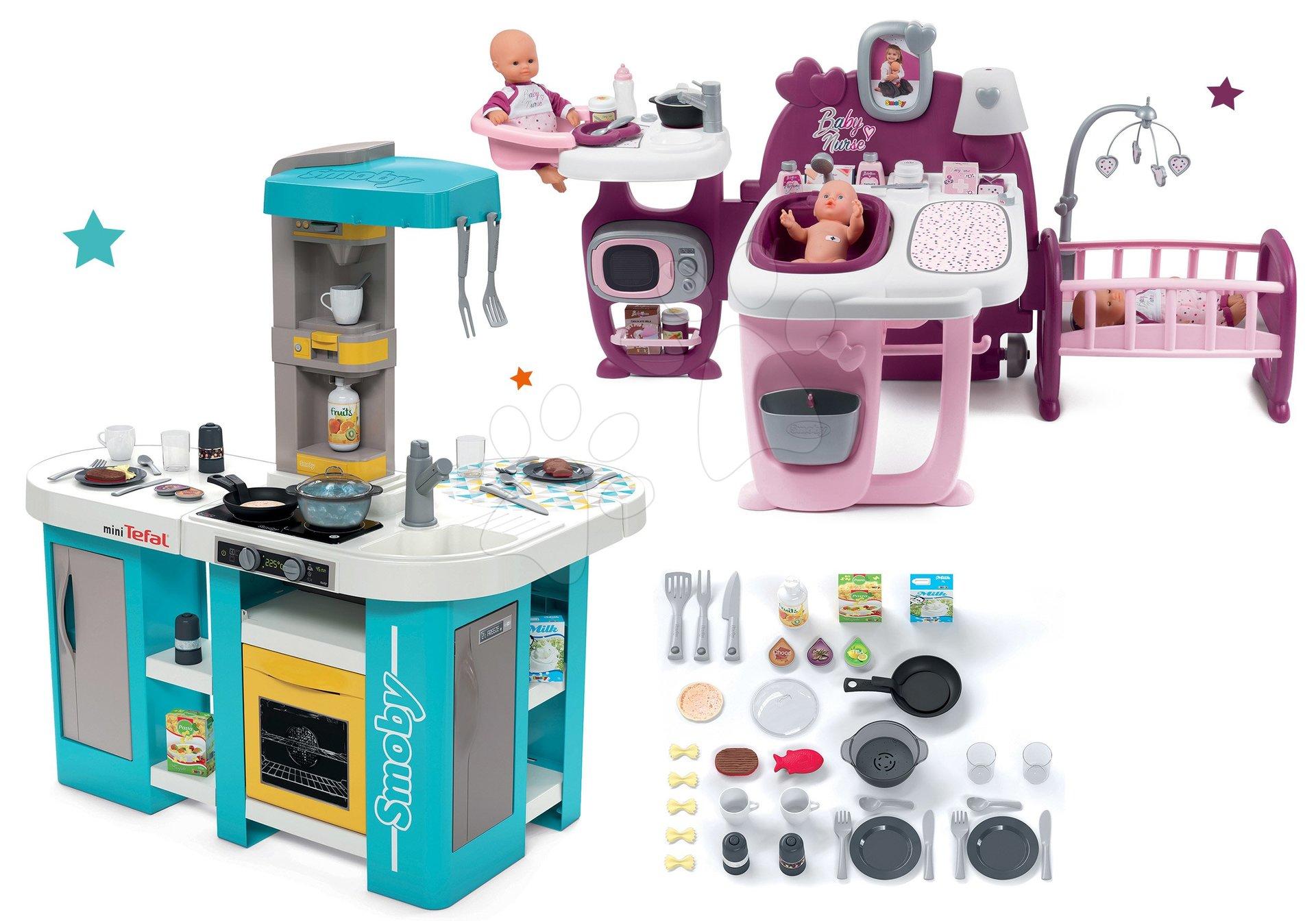 Set kuchyňka elektronická Tefal Studio 360° XL Bubble Smoby a domeček pro panenku Violette Baby Nurse Large Doll's Play Center