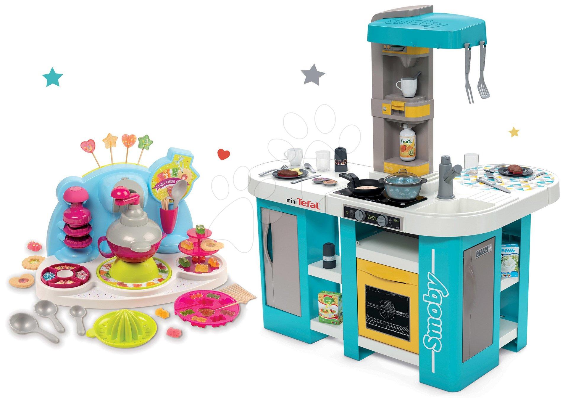 Set kuchynka elektronická Tefal Studio 360° XL Bubble Smoby a hravá kuchárka pre deti Chef Cukrovinky