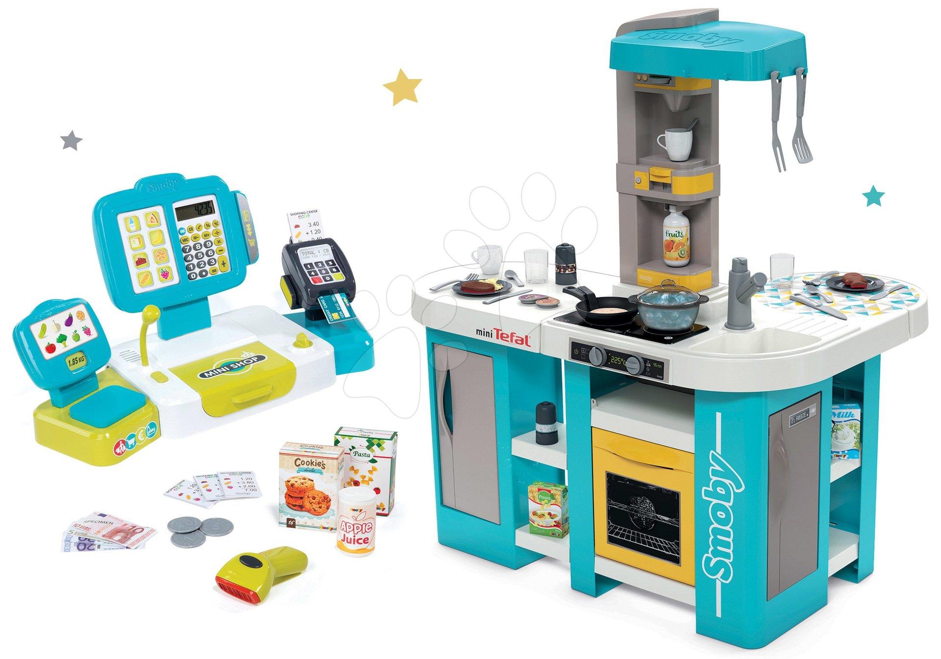 Set kuchynka elektronická Tefal Studio 360° XL Bubble Smoby a pokladňa Mini Shop s terminálom