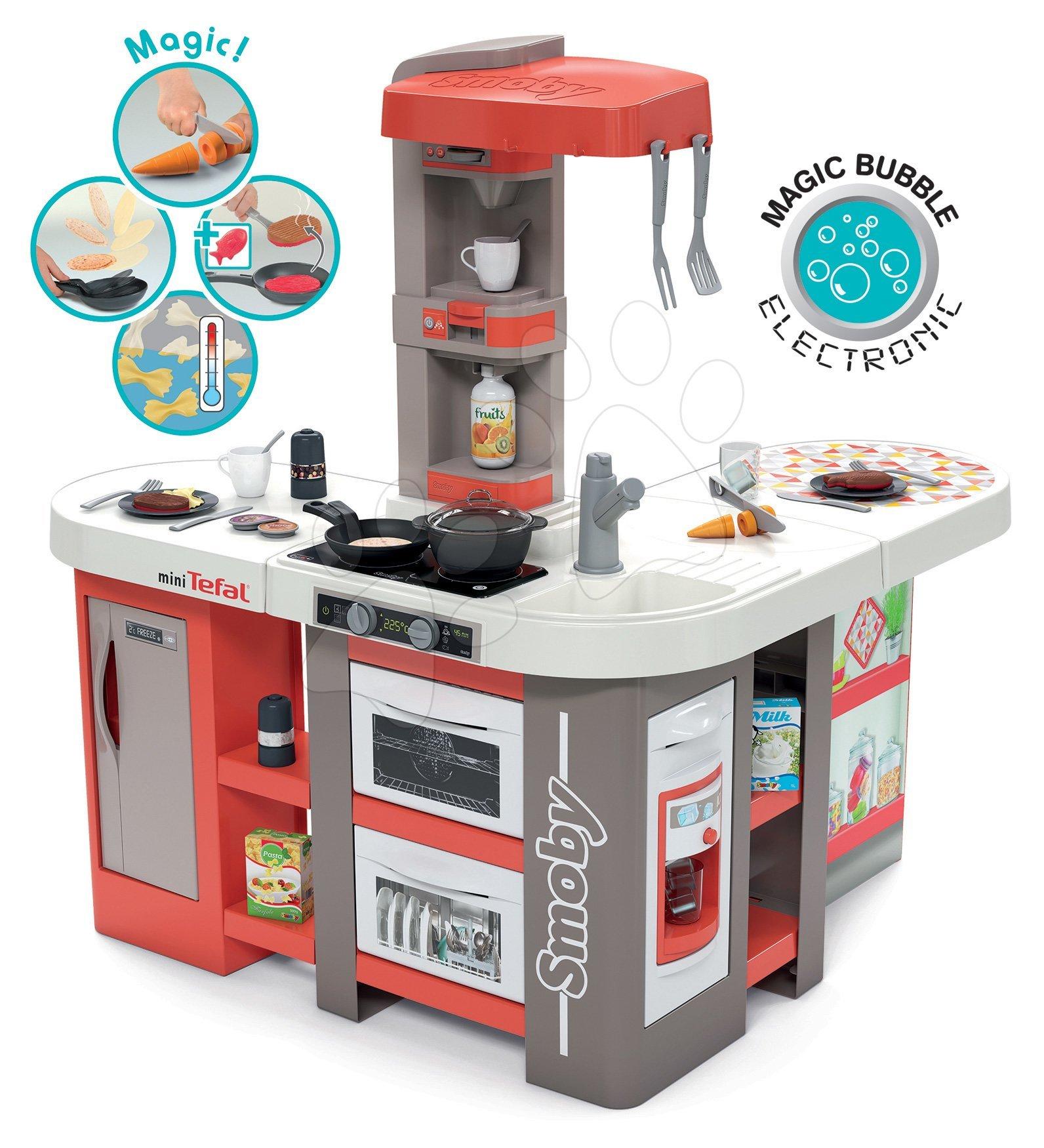 Kuchyňka elektronická Tefal Studio 360° XXL Bubble Smoby mrkvová s magickým bubláním, ledem a těstoviny s mrkví a 39 doplňků