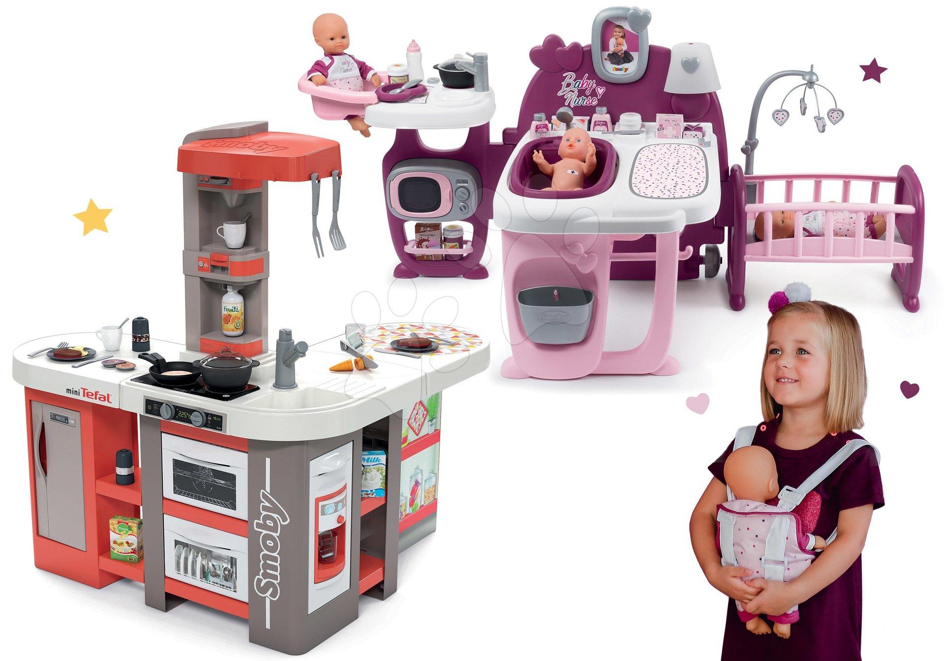 Set kuchyňka elektronická Tefal Studio 360° XXL Bubble Smoby mrkvová a domeček pro panenku s nosítkem Violette Baby Nurse Large Doll's Play Center