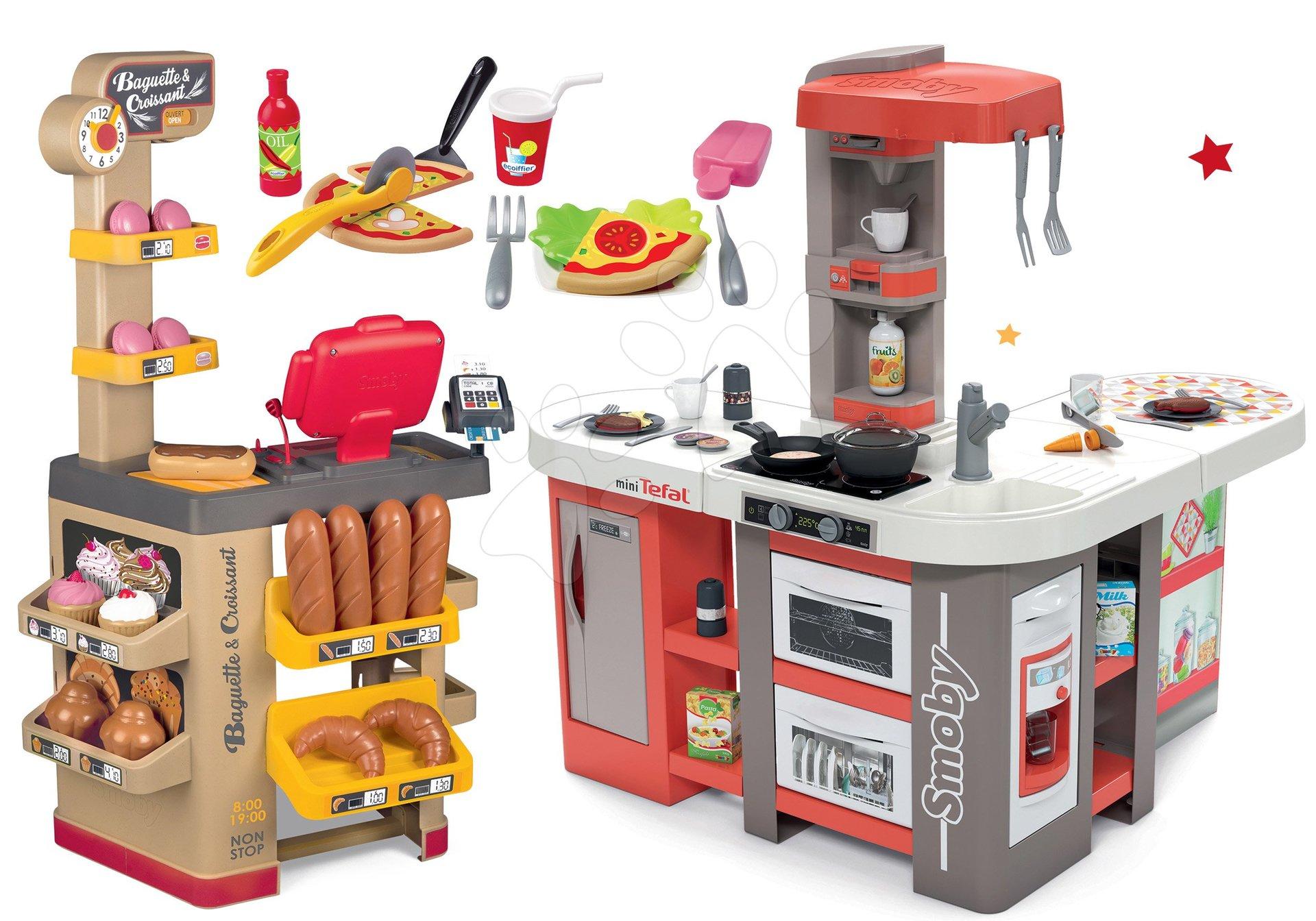 Set kuchynka elektronická Tefal Studio 360° XXL Bubble Smoby mrkvová a pekáreň s koláčmi Baguette&Croissant Bakery s pizzou