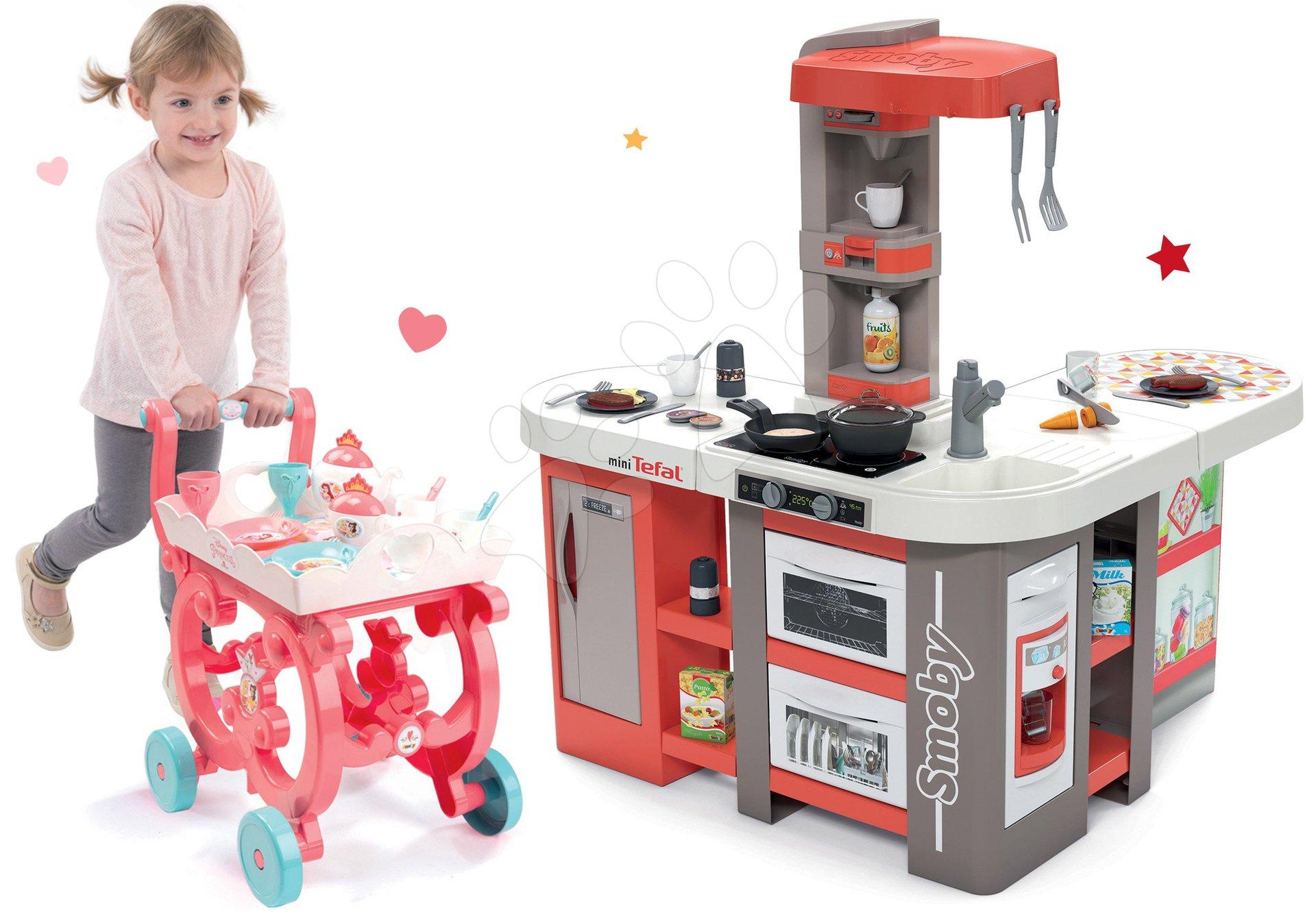 Set kuchynka elektronická Tefal Studio 360° XXL Bubble Smoby mrkvová a servírovací vozík Princezné XL Tea Trolley