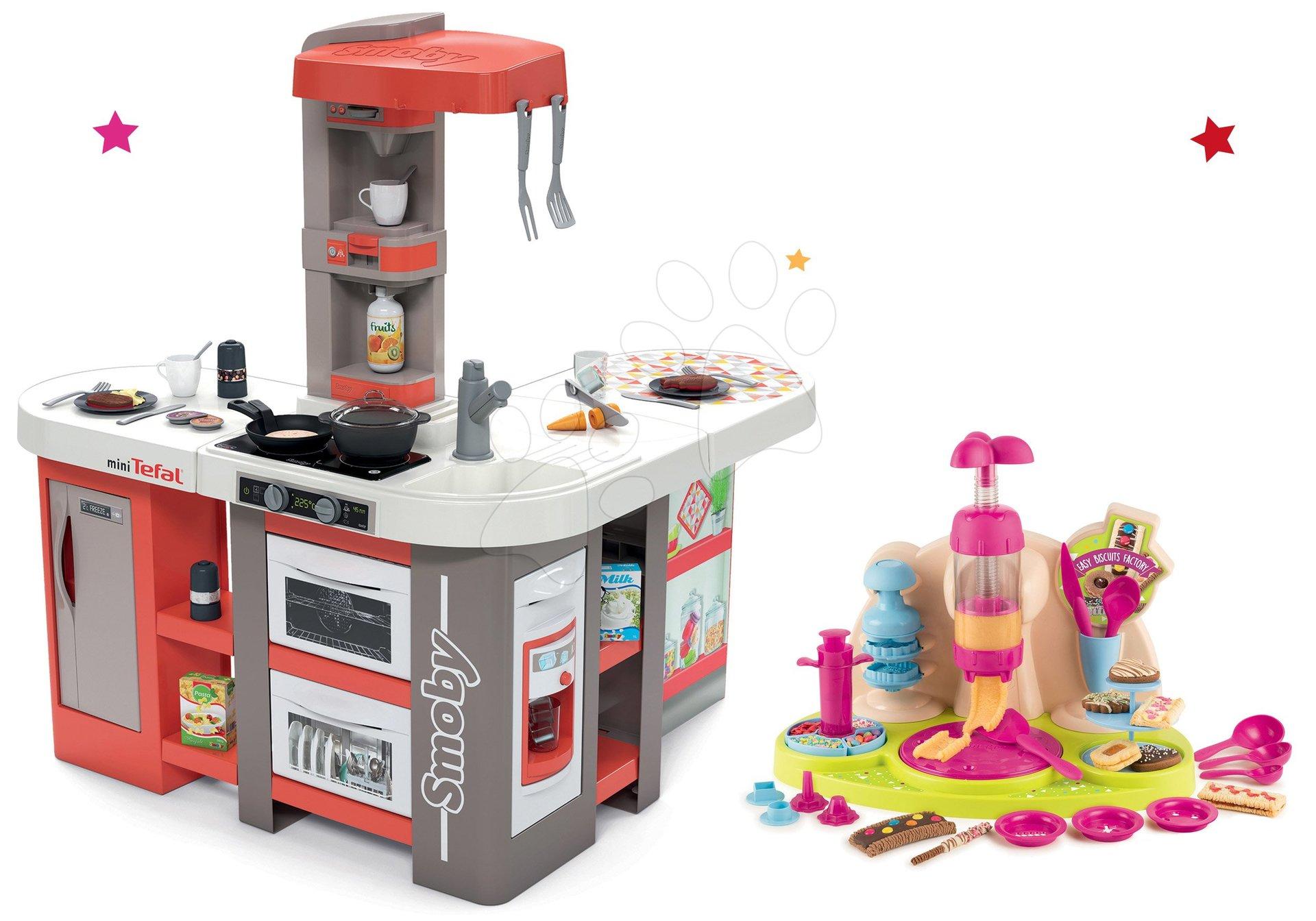 Set kuchynka elektronická Tefal Studio 360° XXL Bubble Smoby mrkvová a Hravá kuchárka Pečieme koláče s receptami