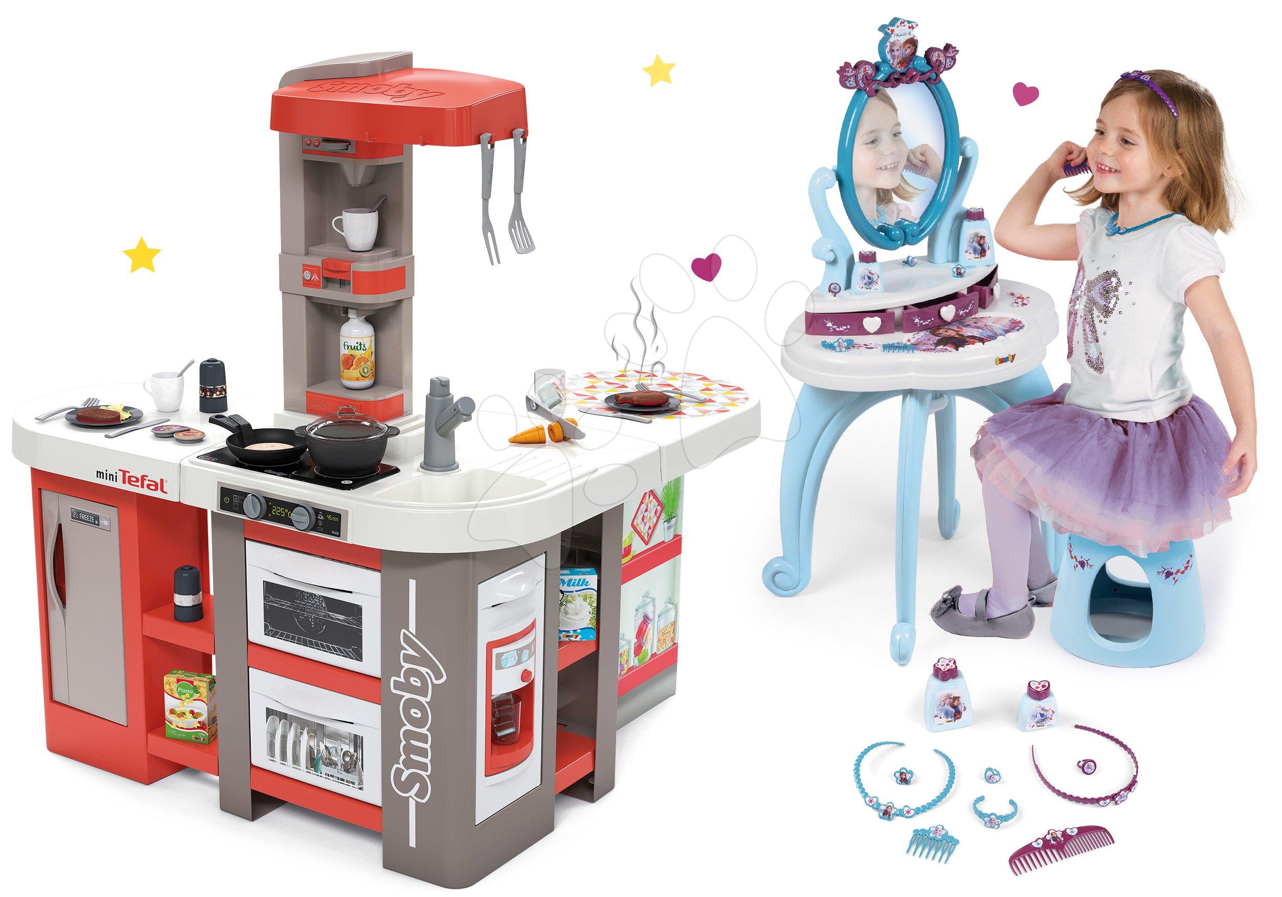 Set kuchynka elektronická Tefal Studio 360° XXL Bubble Smoby mrkvová a kozmetický stolík 2v1 Frozen Disney so stoličkou