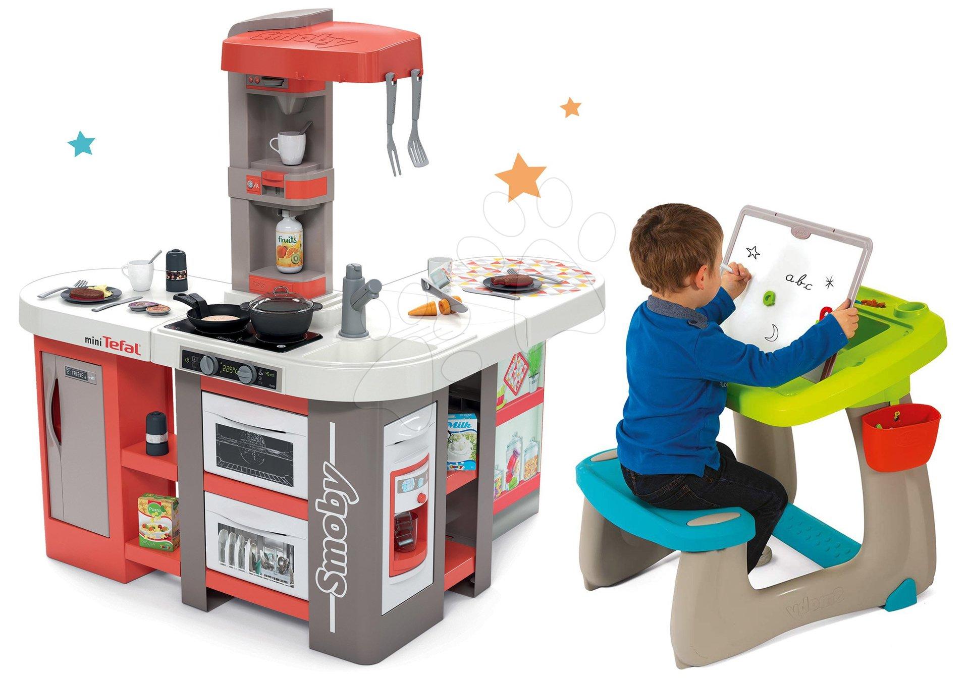 Set kuchynka elektronická Tefal Studio 360° XXL Bubble Smoby mrkvová a lavica na kreslenie a magnetky Little Pupils s obojstrannou tabuľou