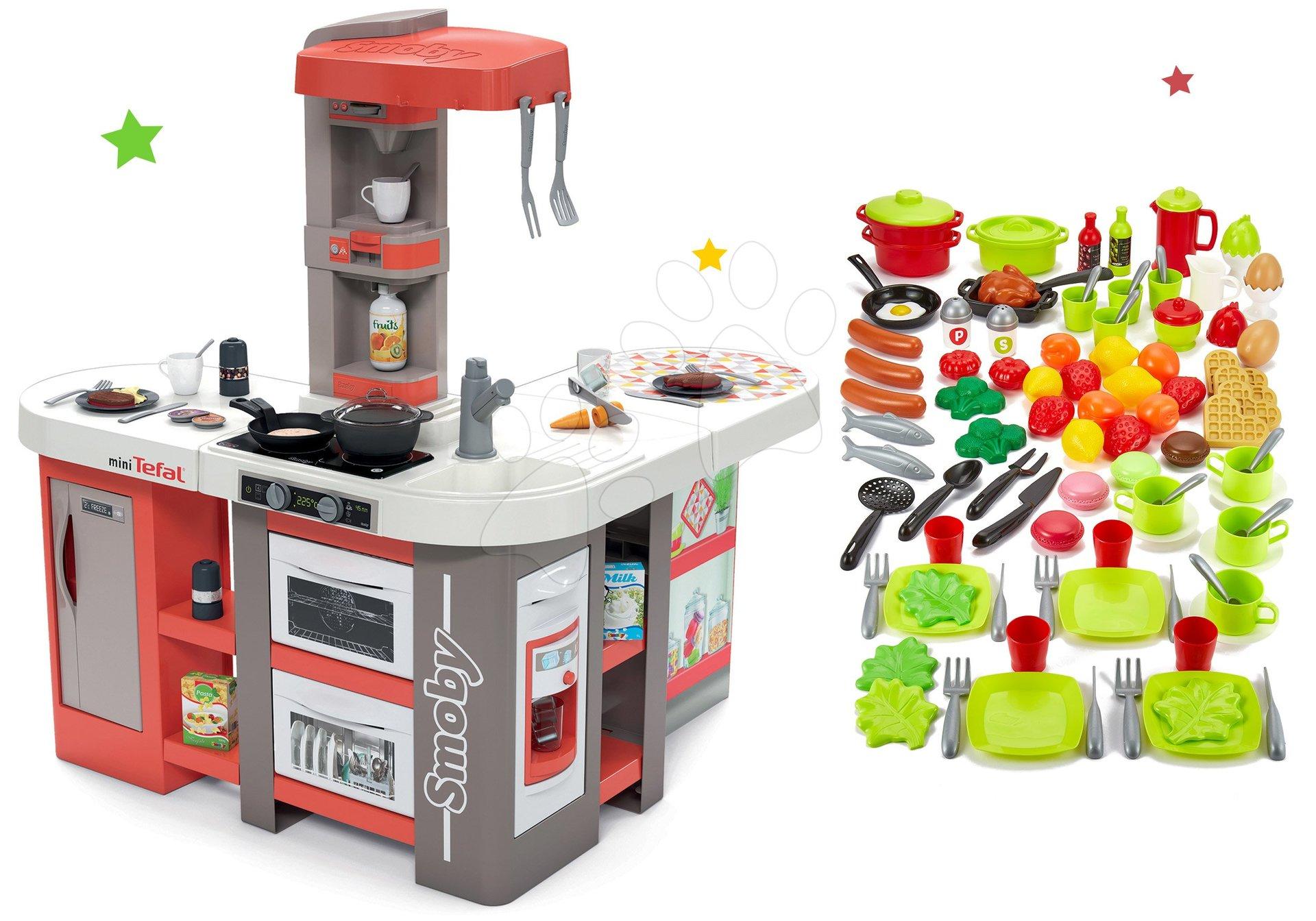Set kuchynka elektronická Tefal Studio 360° XXL Bubble Smoby mrkvová a 100-dielna súprava ovocia zeleniny a potraviny s riadom