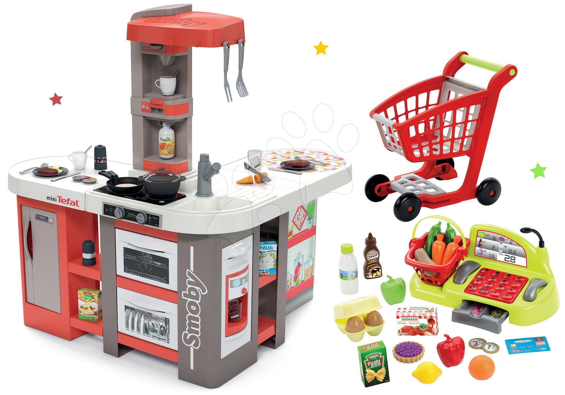 Set kuchynka elektronická Tefal Studio 360° XXL Bubble Smoby mrkvová a pokladňa s nákupným vozíkom a potravinami