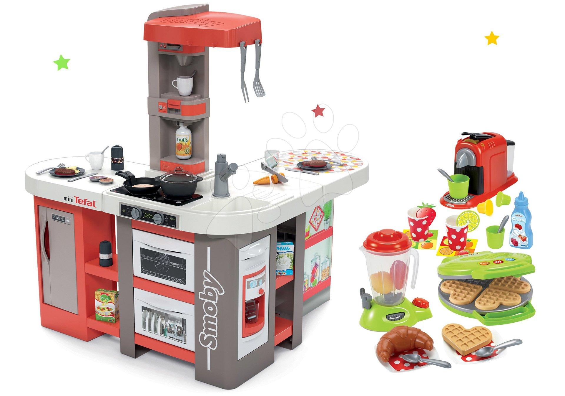 Set kuchynka elektronická Tefal Studio 360° XXL Bubble Smoby mrkvová a vaflovač s mixérom, kávovarom a vaflami