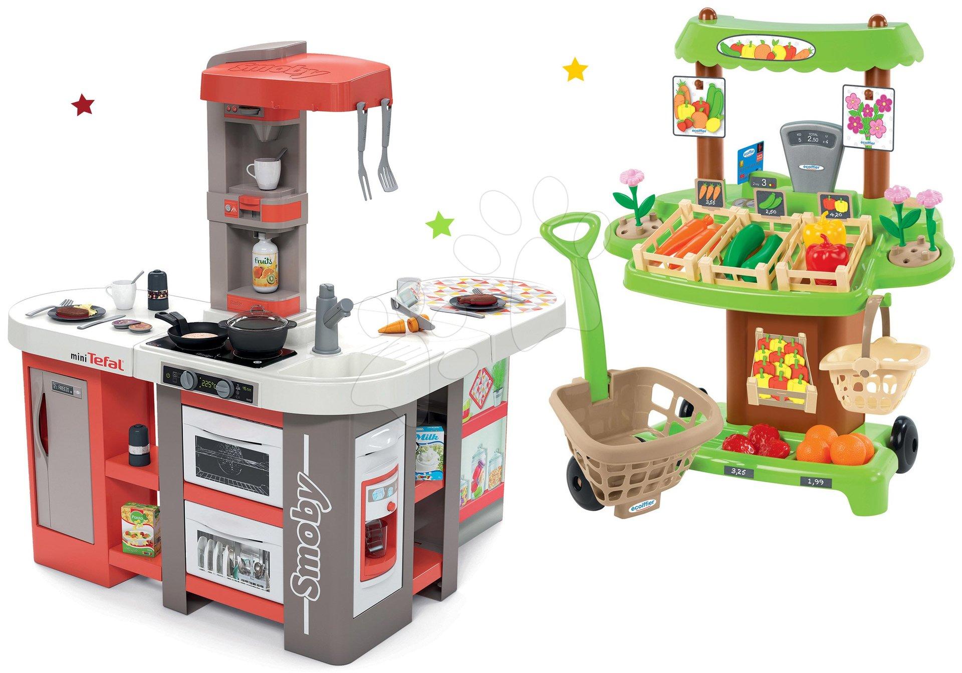 Set kuchyňka elektronická Tefal Studio 360° XXL Bubble Smoby mrkvová a zeleninový Bio stánek s vozíkem Organic 100% Chef