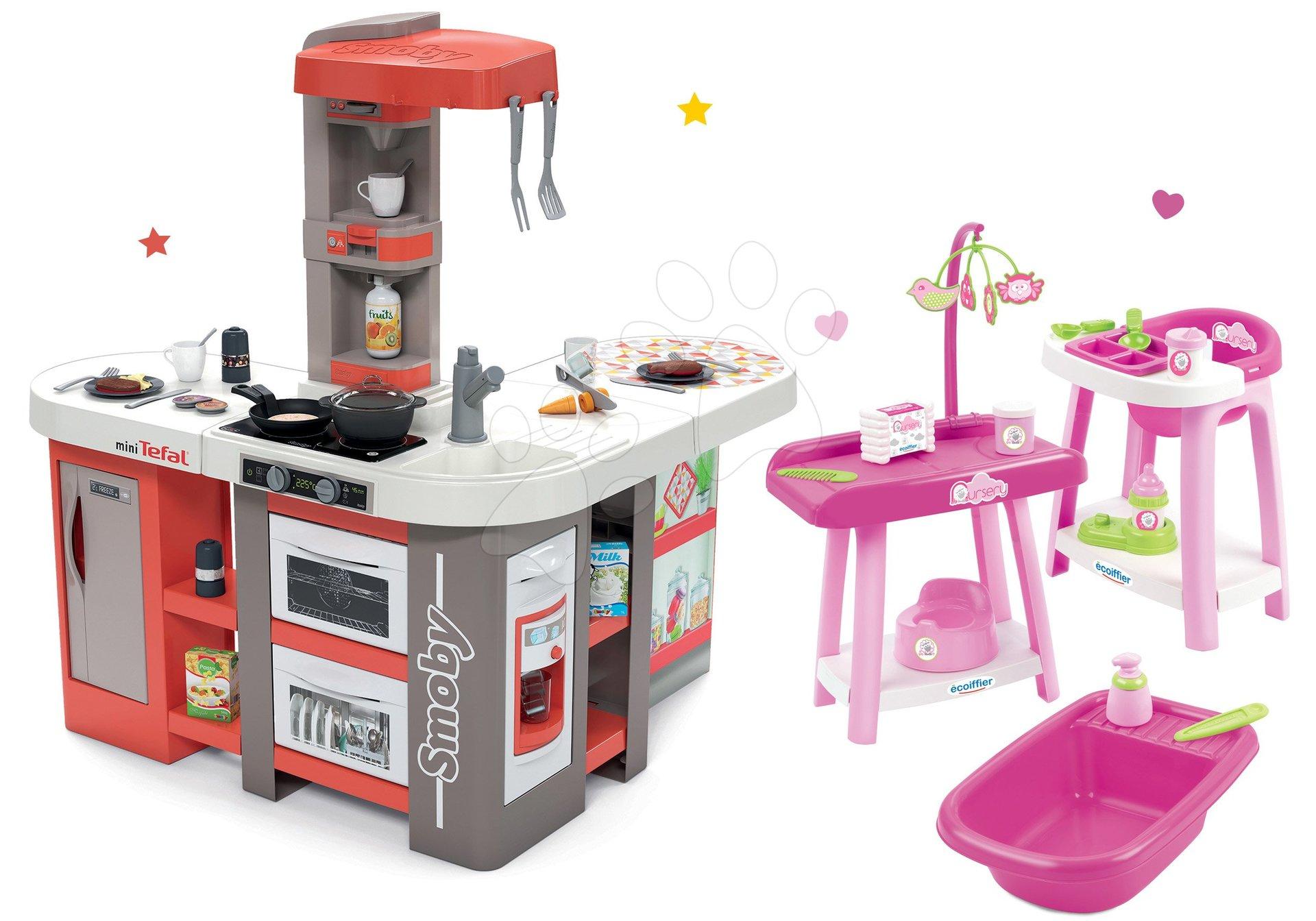 Set kuchyňka elektronická Tefal Studio 360° XXL Bubble Smoby mrkvová a přebalovací pult s židlí a vaničkou Nursery 3v1