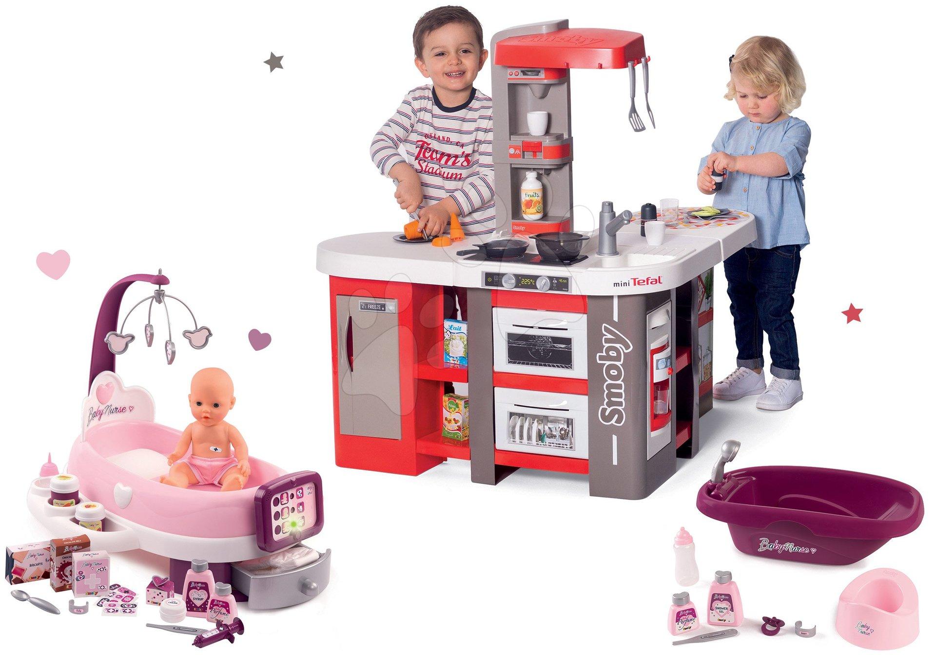 Set kuchyňka elektronická Tefal Studio 360° XXL Bubble Smoby mrkvová a pečovatelské centrum elektron