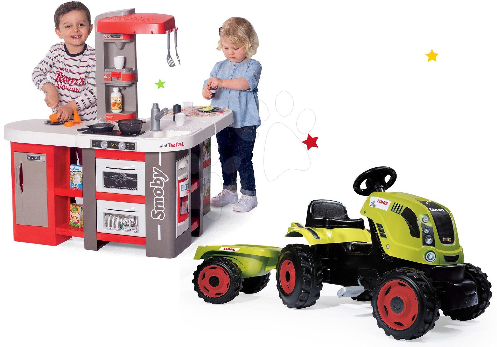 Set kuchynka elektronická Tefal Studio 360° XXL Bubble Smoby mrkvová a traktor na šliapanie Claas Farmer XL s prívesom