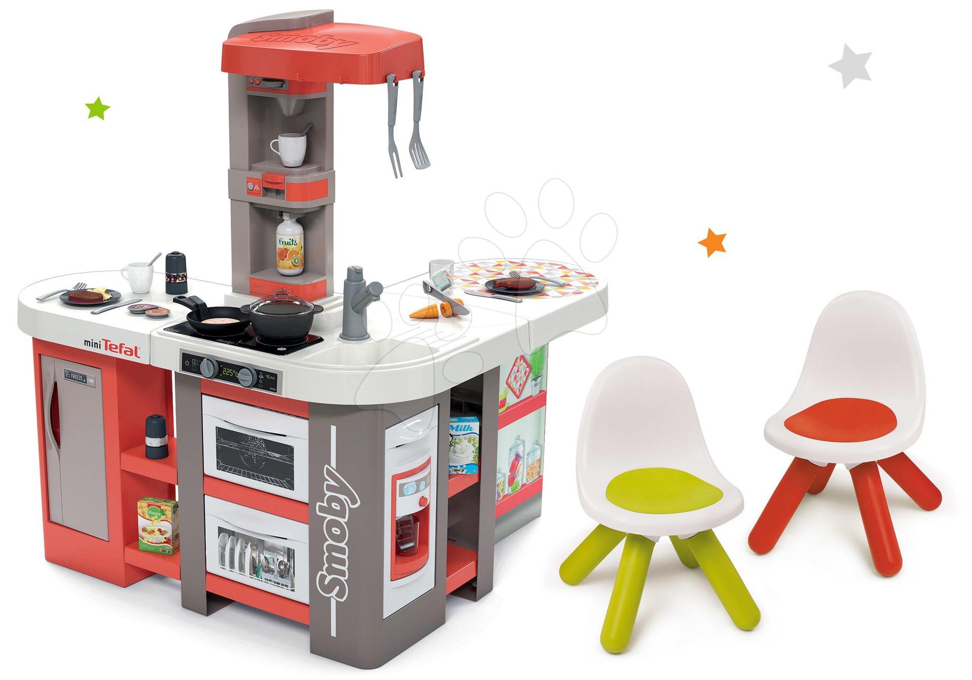 Set kuchynka elektronická Tefal Studio 360° XXL Bubble Smoby mrkvová a stolička Kid červená a zelená
