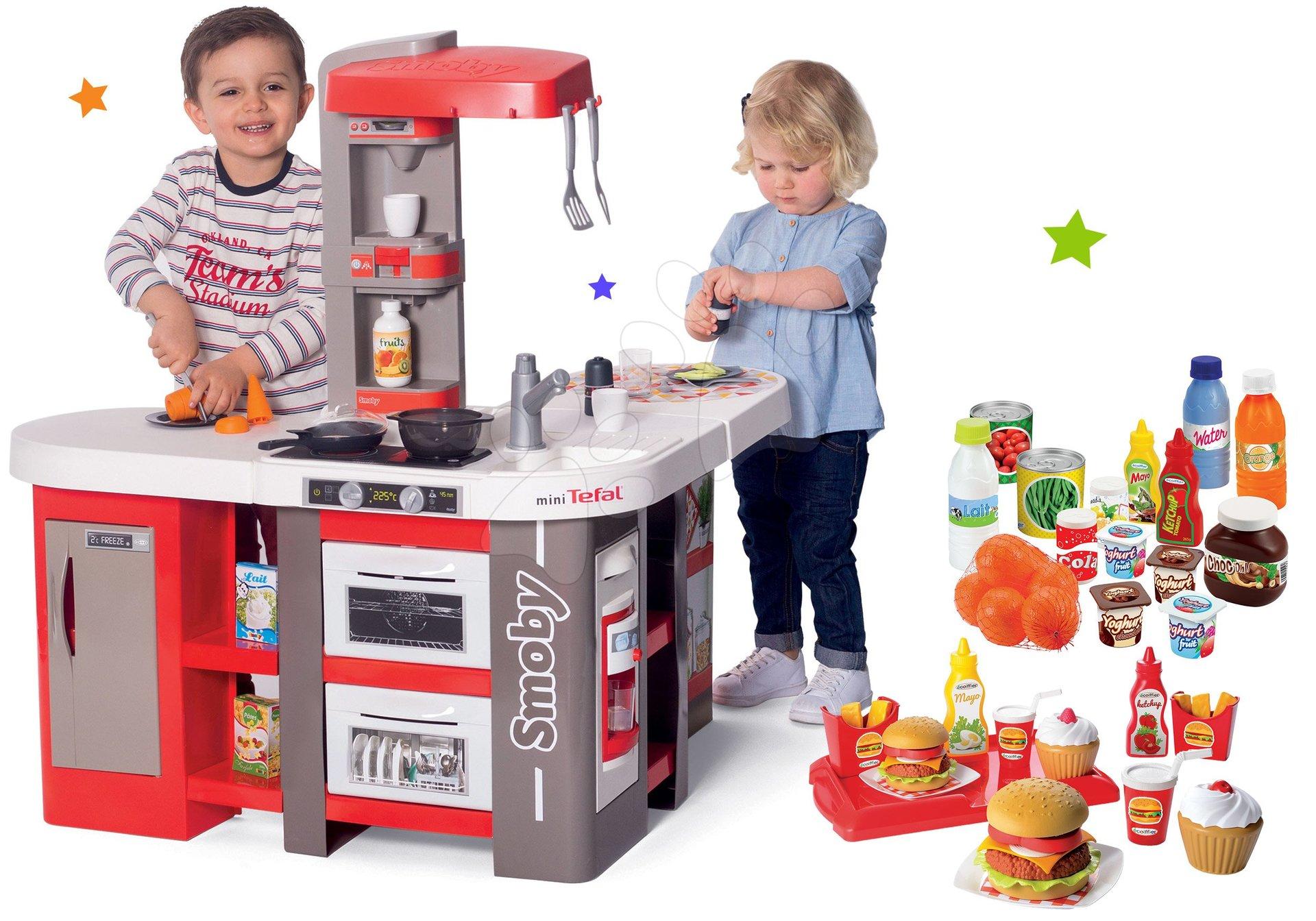 Set kuchynka elektronická Tefal Studio 360° XXL Bubble Smoby mrkvová a potraviny s hamburgermi na tácke