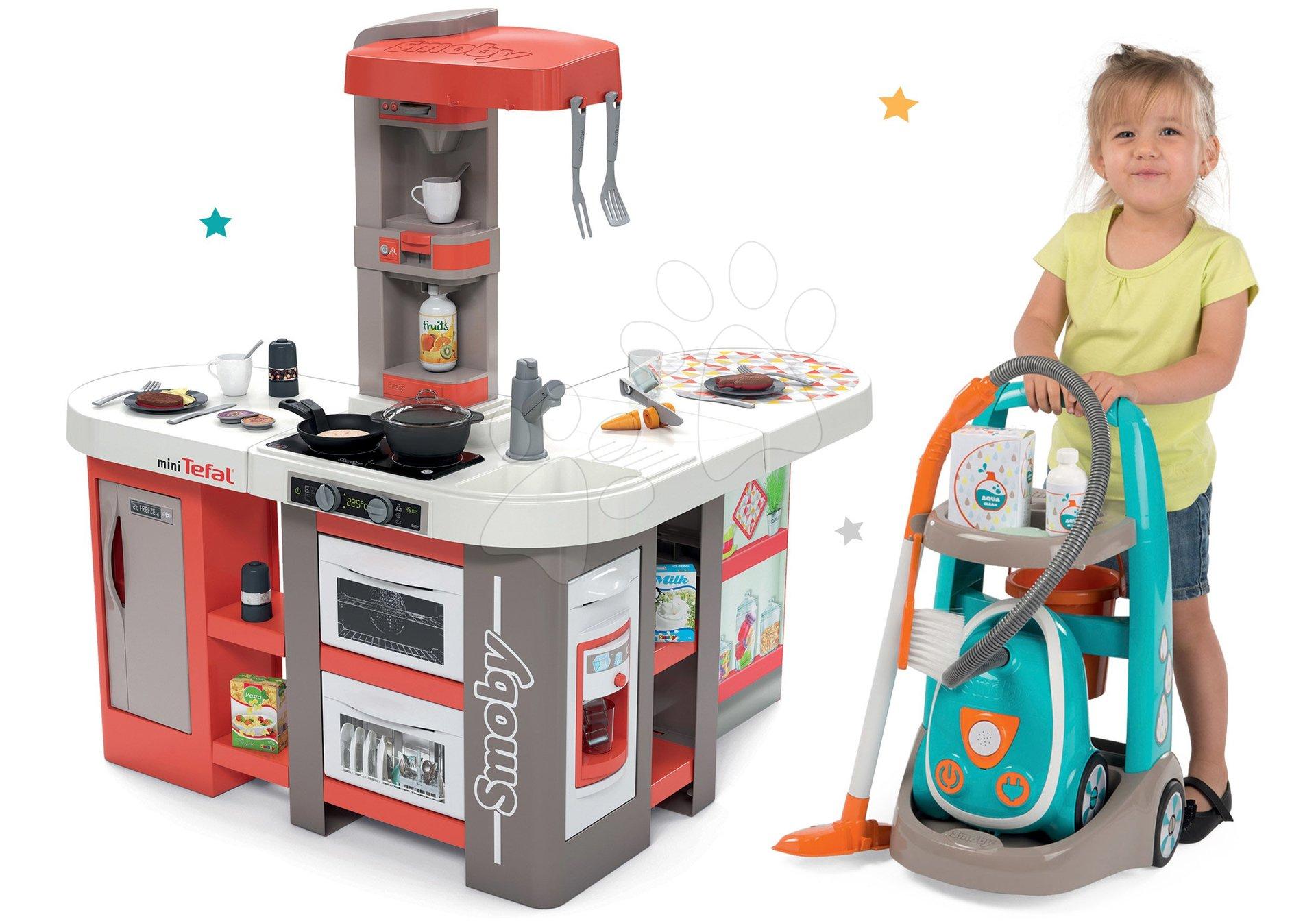 Set kuchynka elektronická Tefal Studio 360° XXL Bubble Smoby mrkvová a vysávač s upratovacím vozíkom