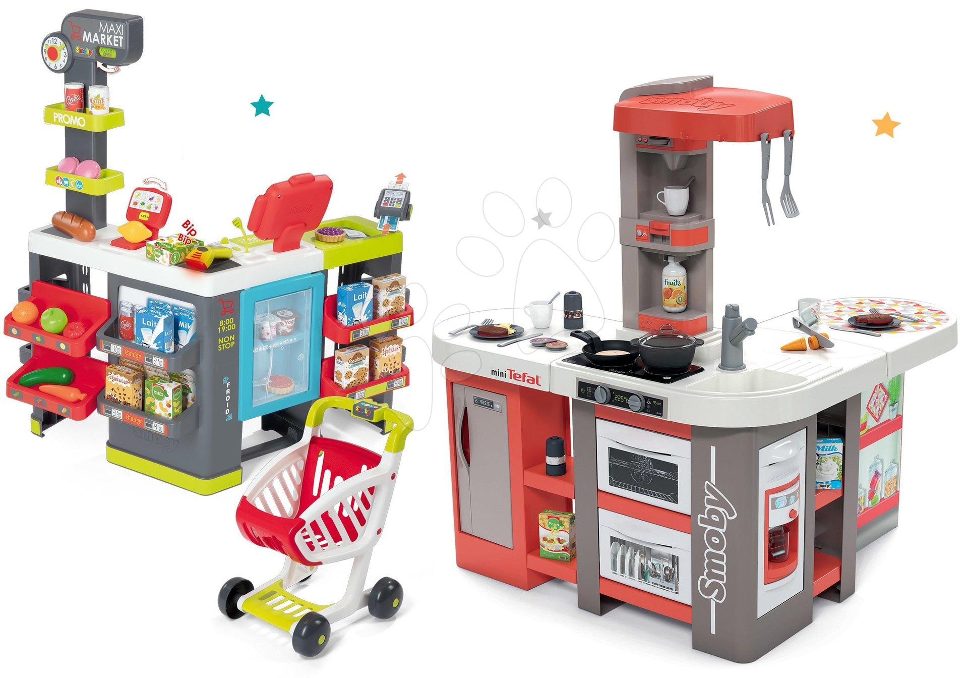 Set kuchynka elektronická Tefal Studio 360° XXL Bubble Smoby mrkvová a obchod zmiešaný tovar Maxi Market s chladničkou