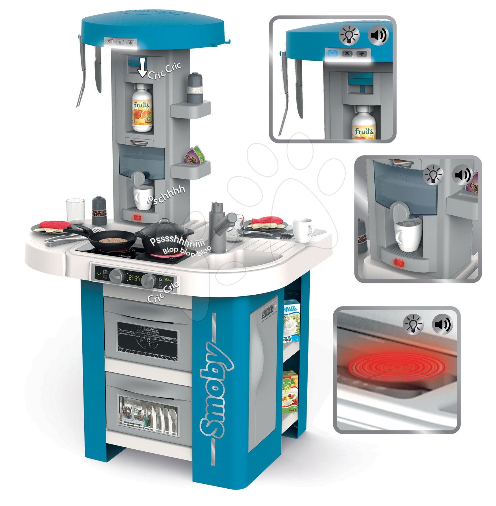 Kuchynka s technickým vybavením Tech Edition Smoby elektronická s mnohými zvukmi a svetlami a 35 doplnkov 100 cm vysoká (prac. doska 51 cm) SM311049