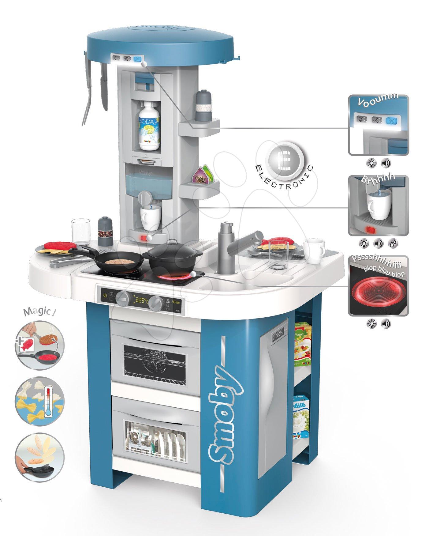 Kuchynka s technickým vybavením Tech Edition Smoby elektronická s mnohými zvukmi a svetlami a 35 doplnkov 100 cm vysoká