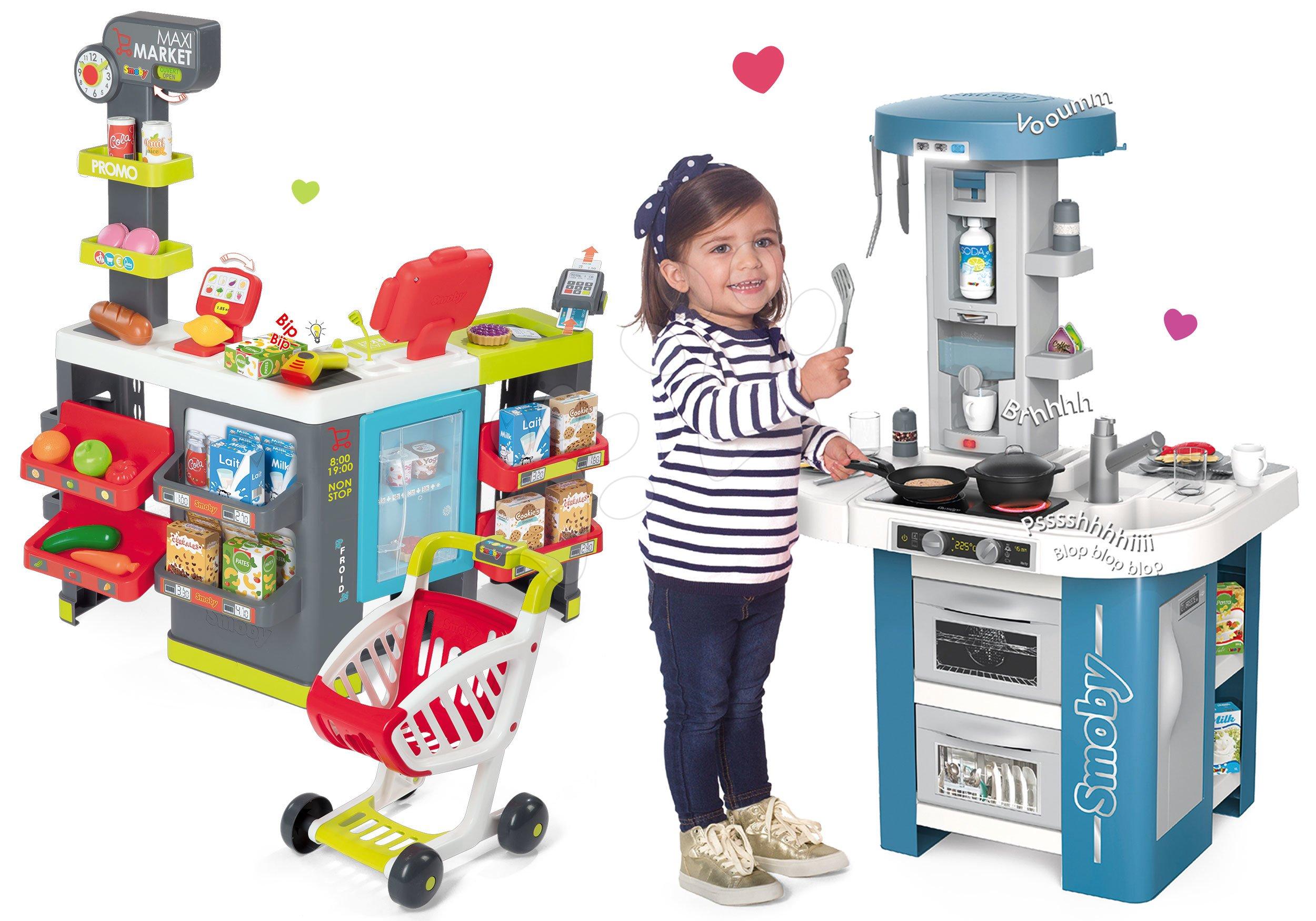 Set kuchynka s technickým vybavením Tech Edition Smoby elektronická so supermarketom Maxi Market a chladiacim boxom